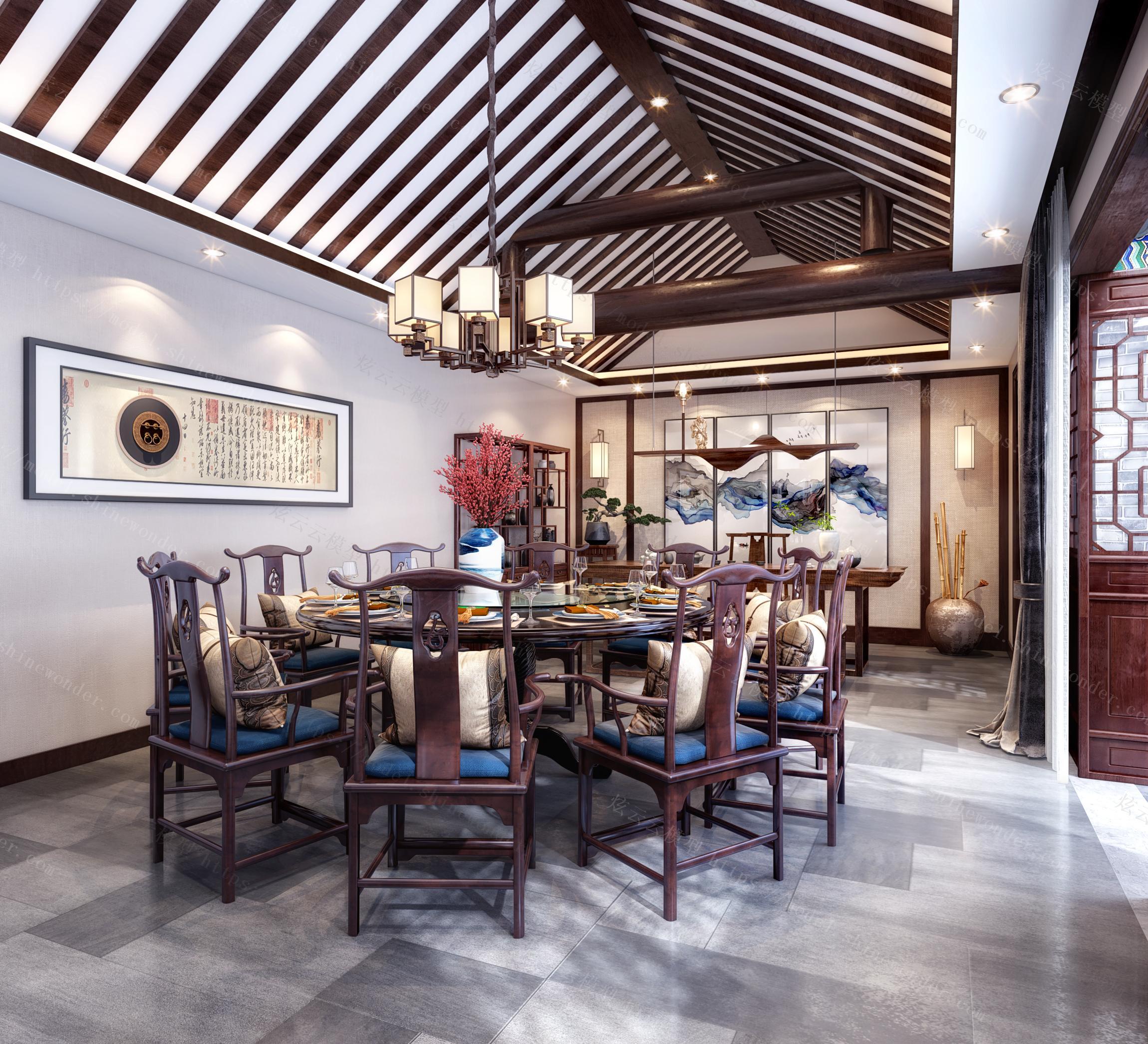 新中式餐厅茶室模型