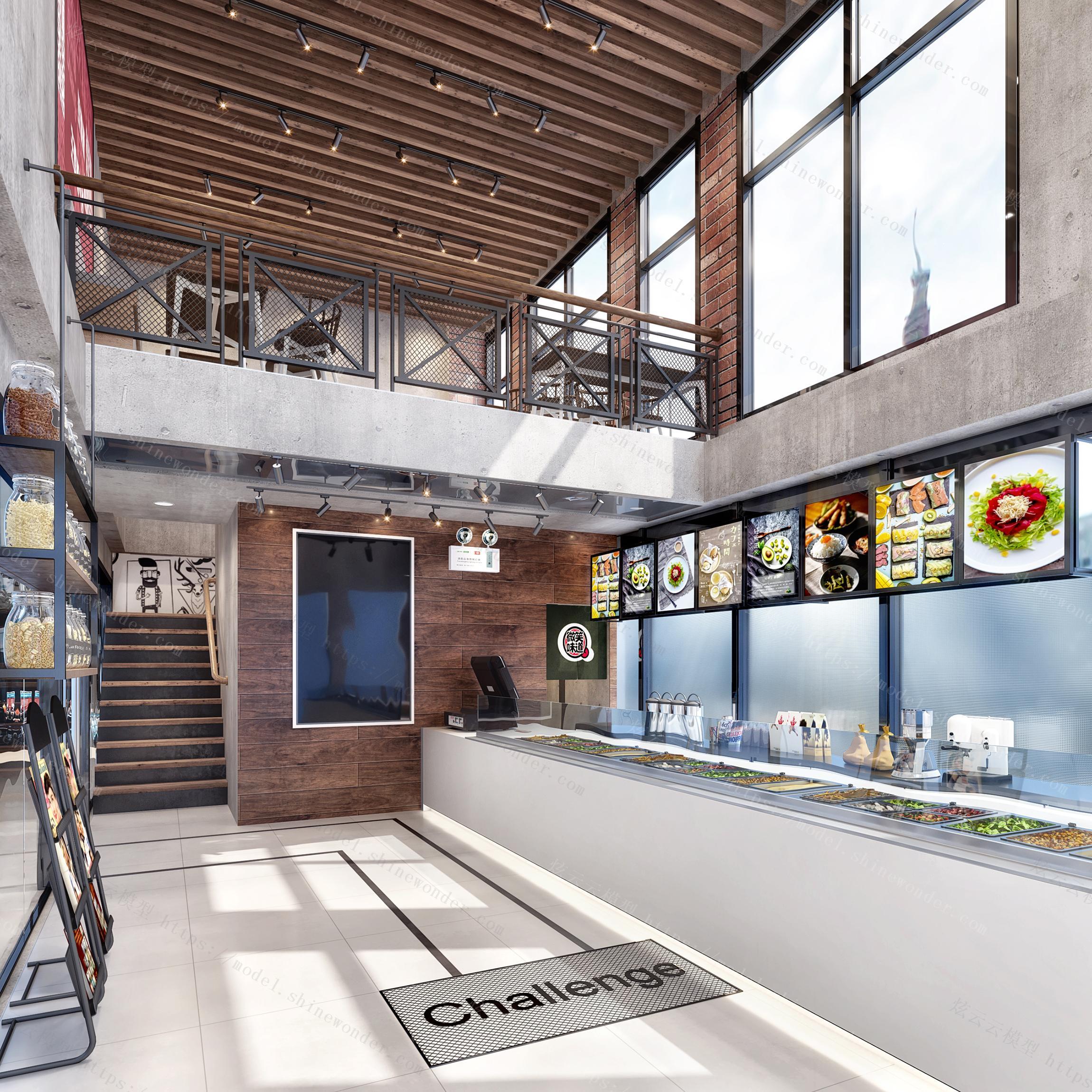 工业风快餐厅模型