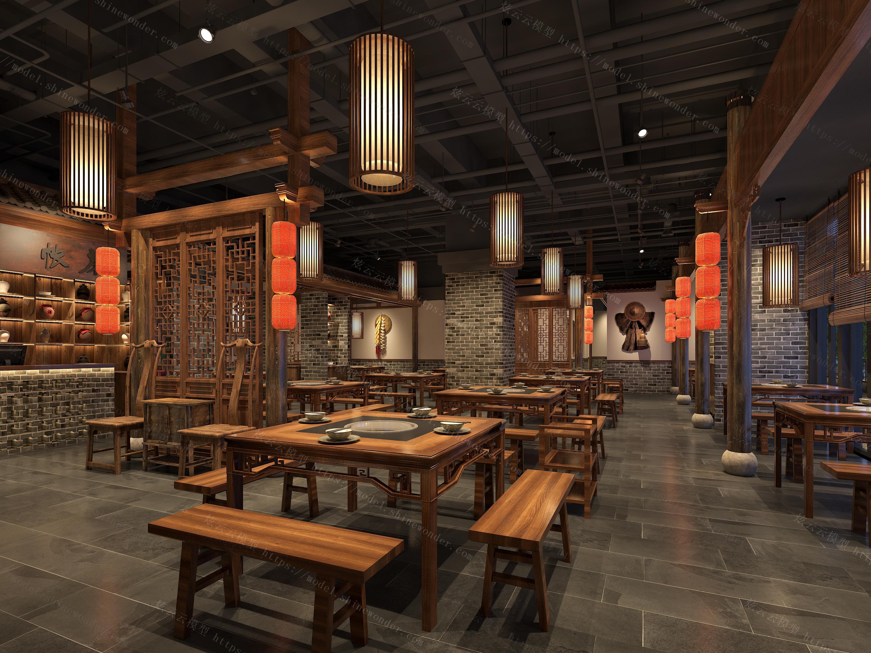中式餐厅大厅模型