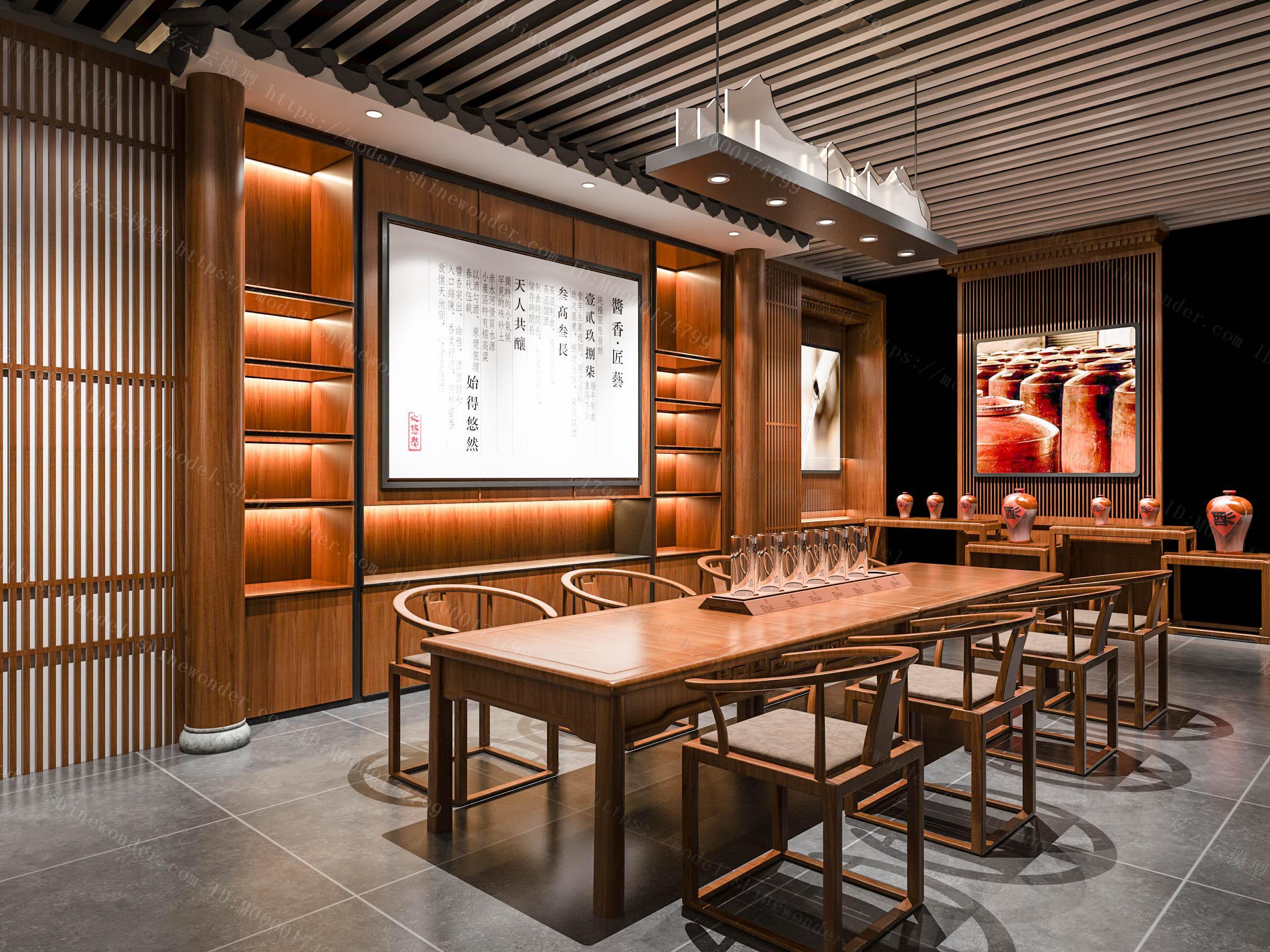 中式酒专卖店模型