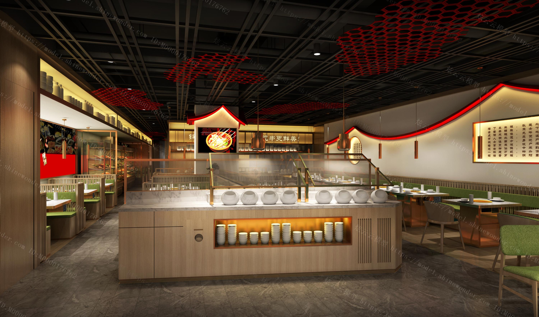 现代串串火锅店模型