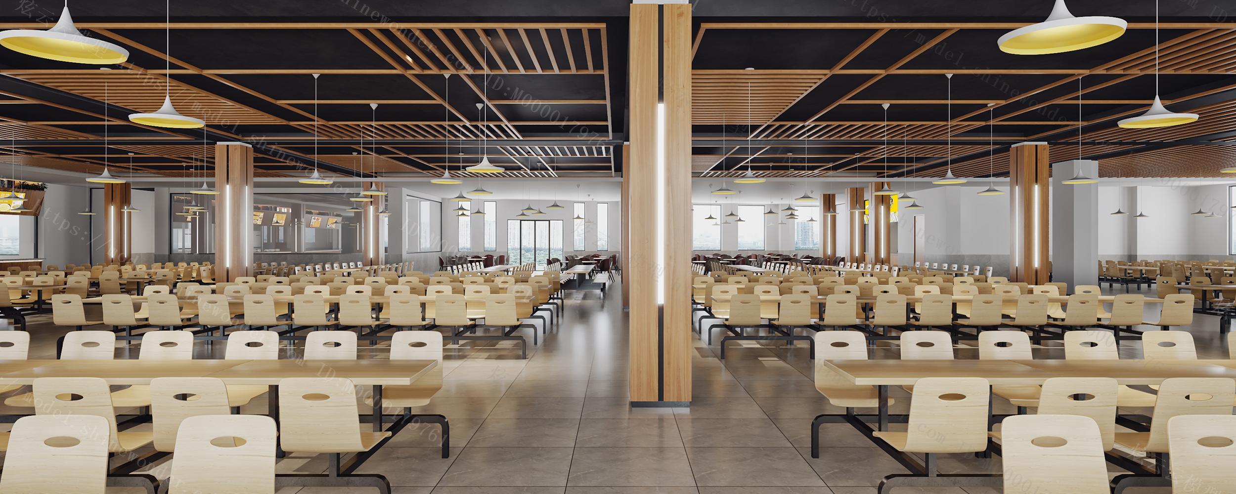 现代学校自助食堂模型