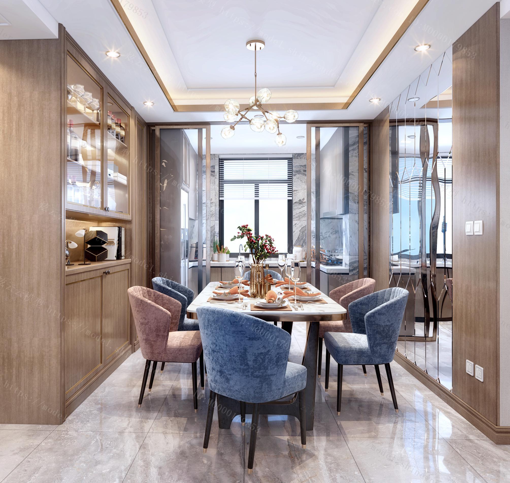 现代轻奢餐厅厨房模型