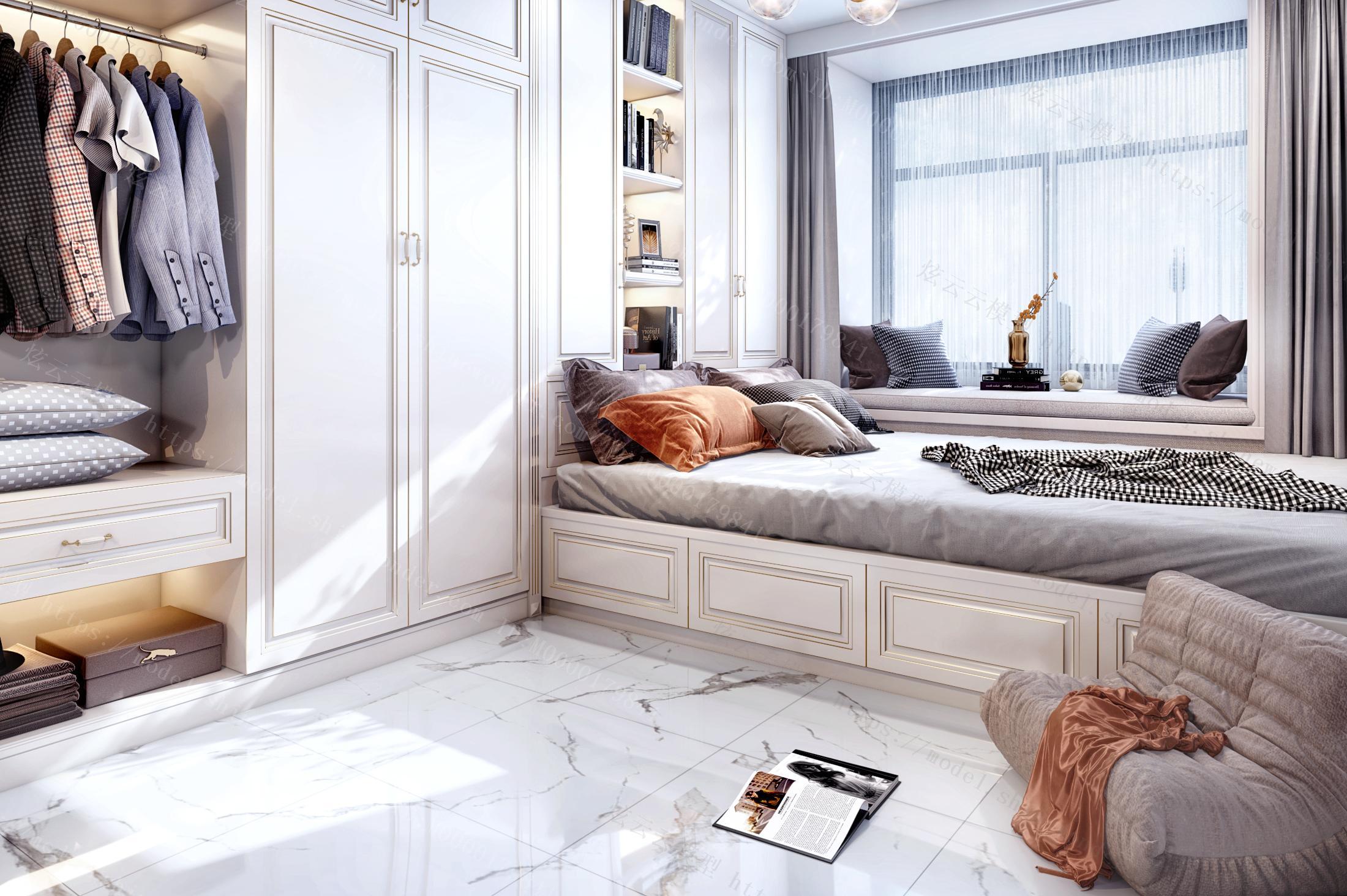 现代轻奢榻榻米书房卧室模型