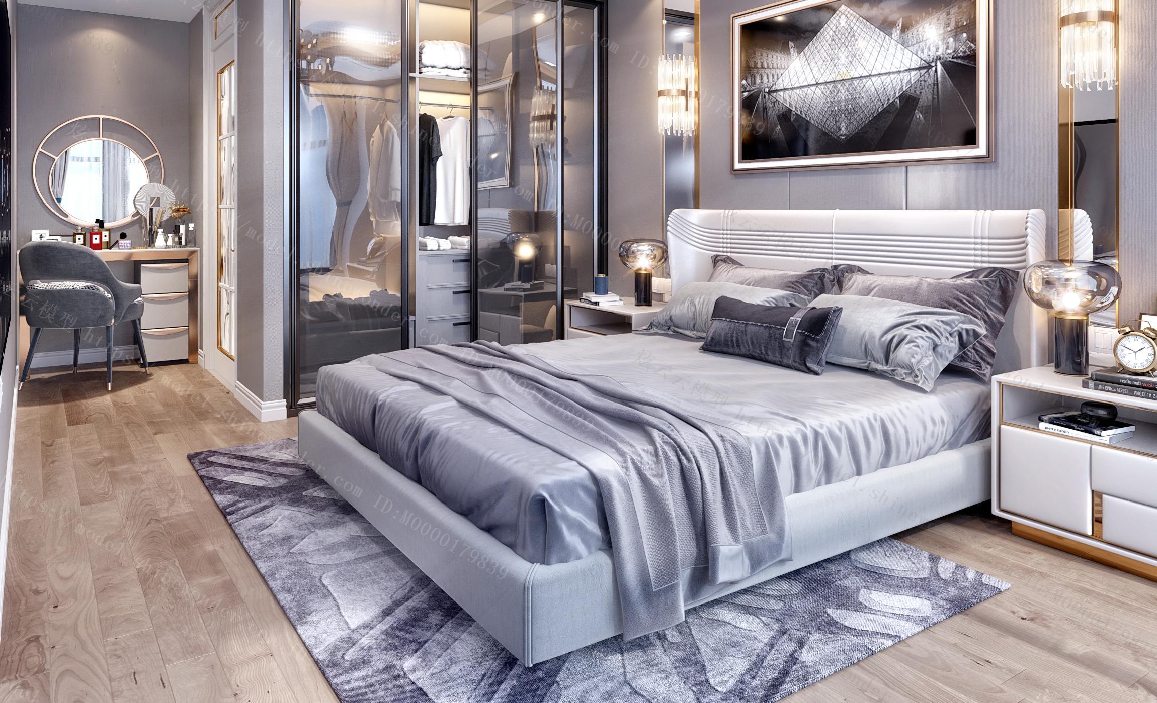 现代轻奢黑白灰卧室梳妆台衣柜模型