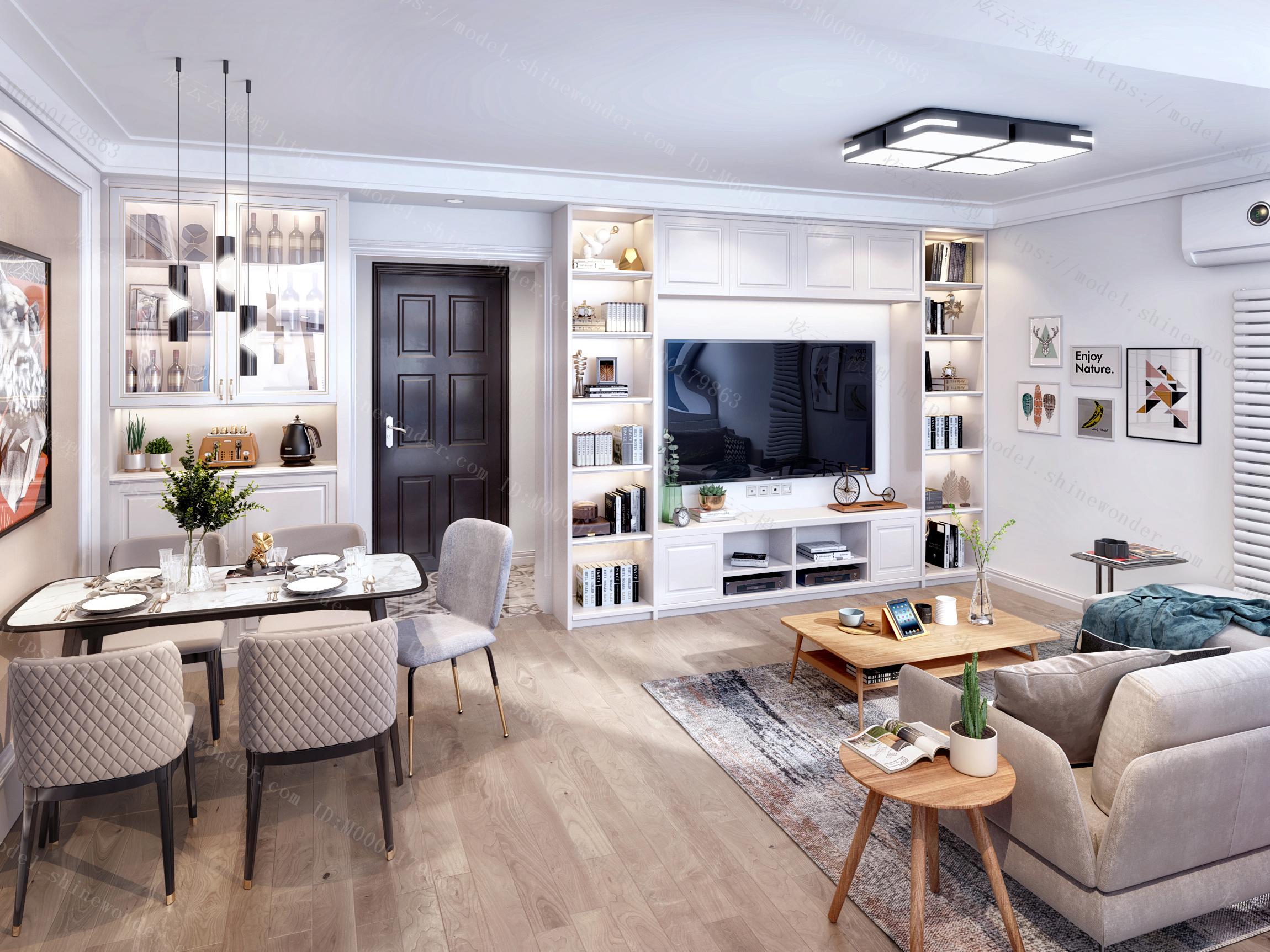 现代简约客餐厅门厅模型