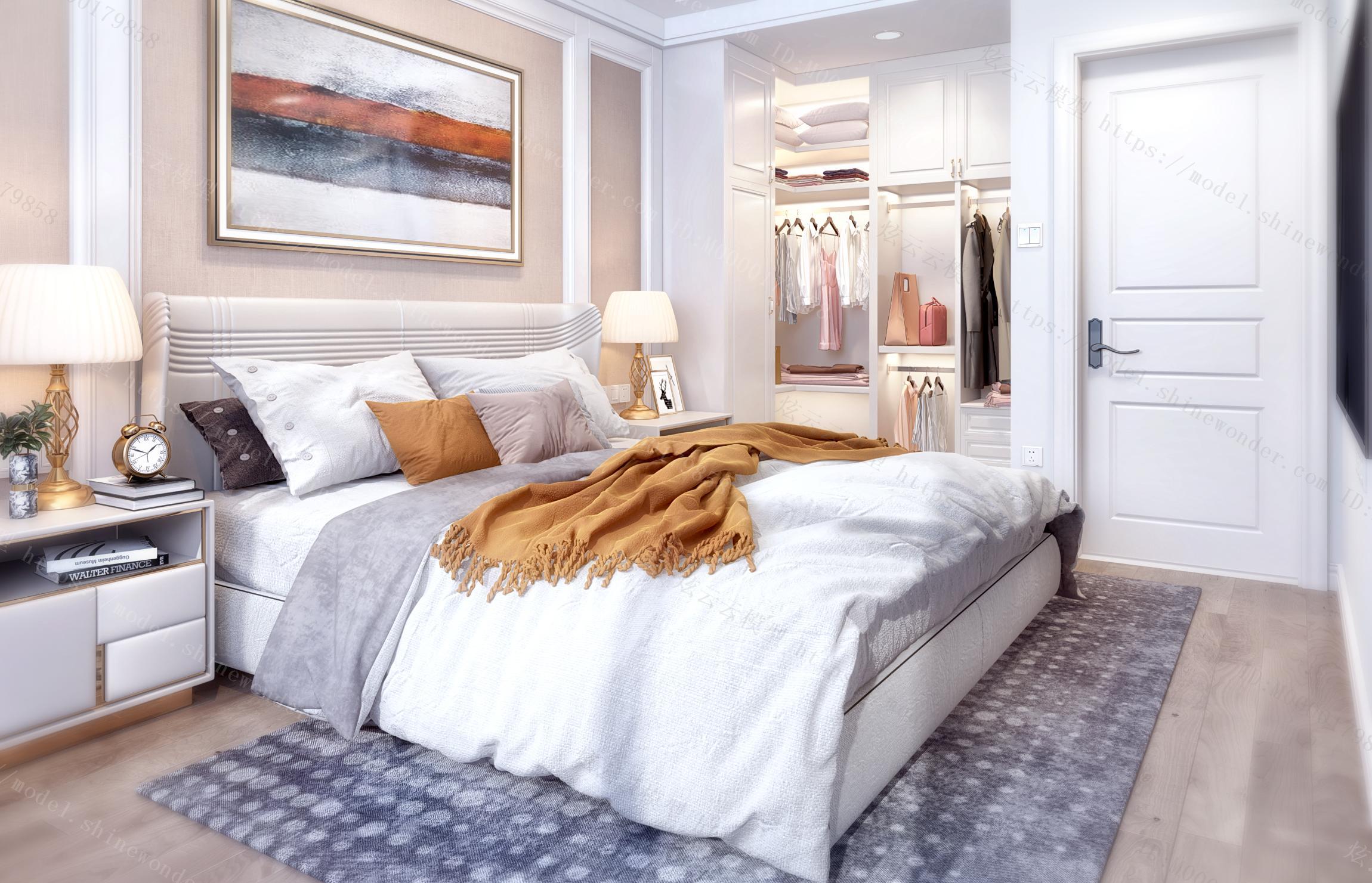 现代简约美式卧室衣帽间模型
