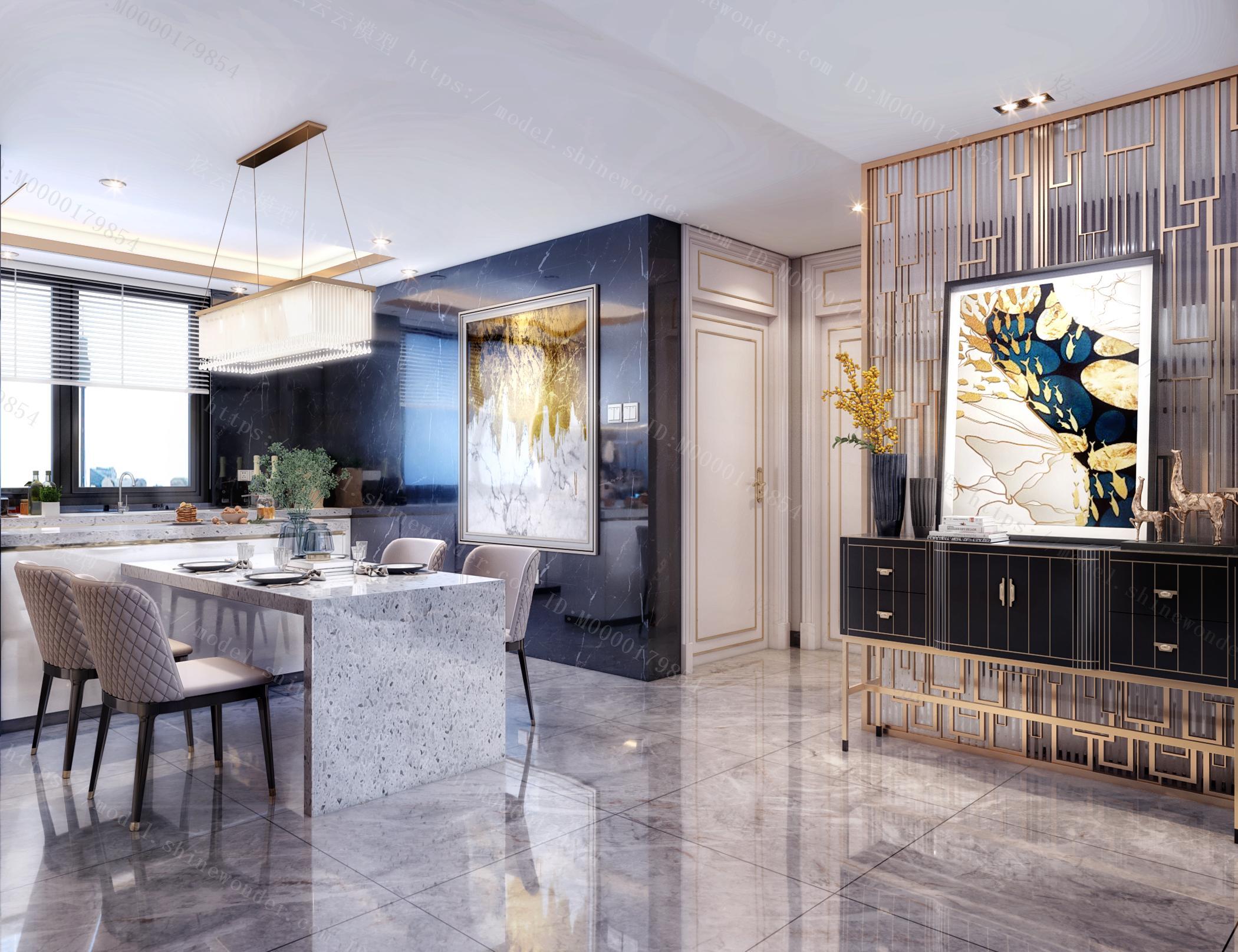 现代黑白灰轻奢客餐厅厨房门厅模型