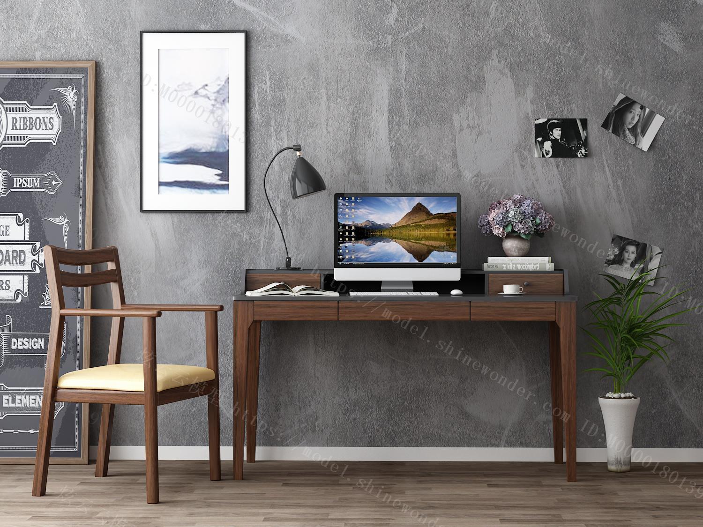 北欧简约家用多功能实木电脑书桌一体桌写字台式电脑桌办公桌DQ1V模型