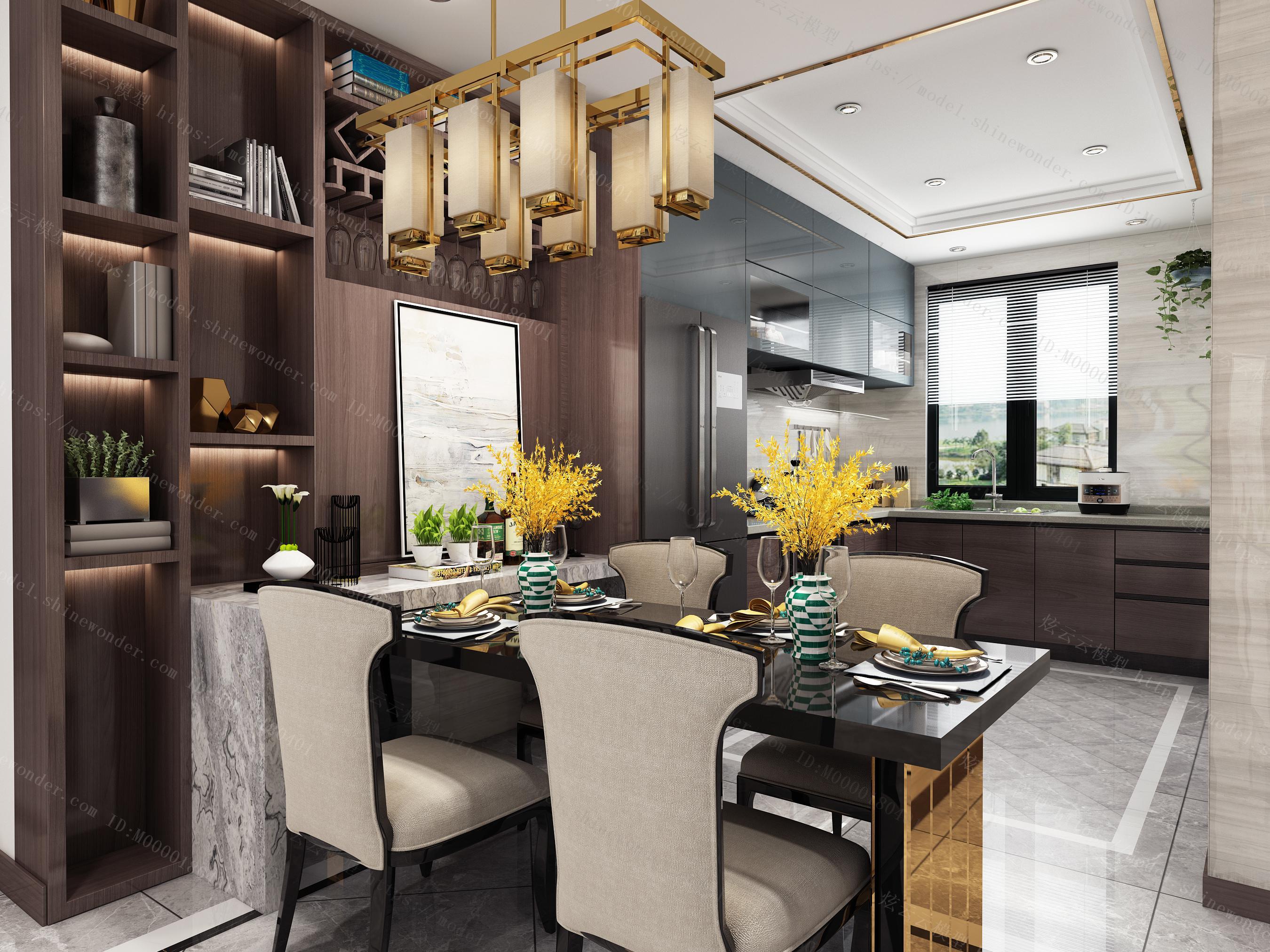 新中式挑高别墅模型