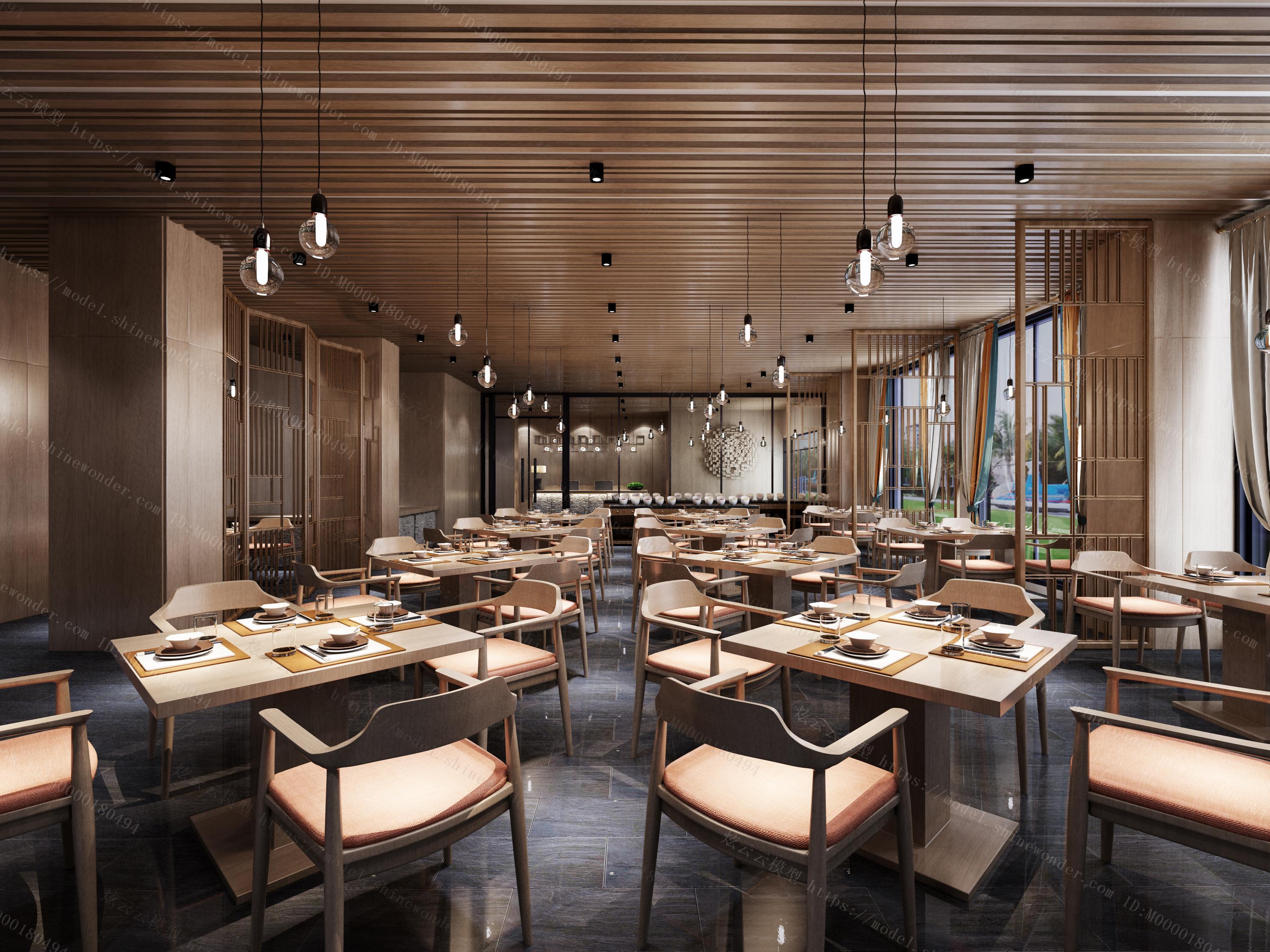 现代酒店就餐区模型