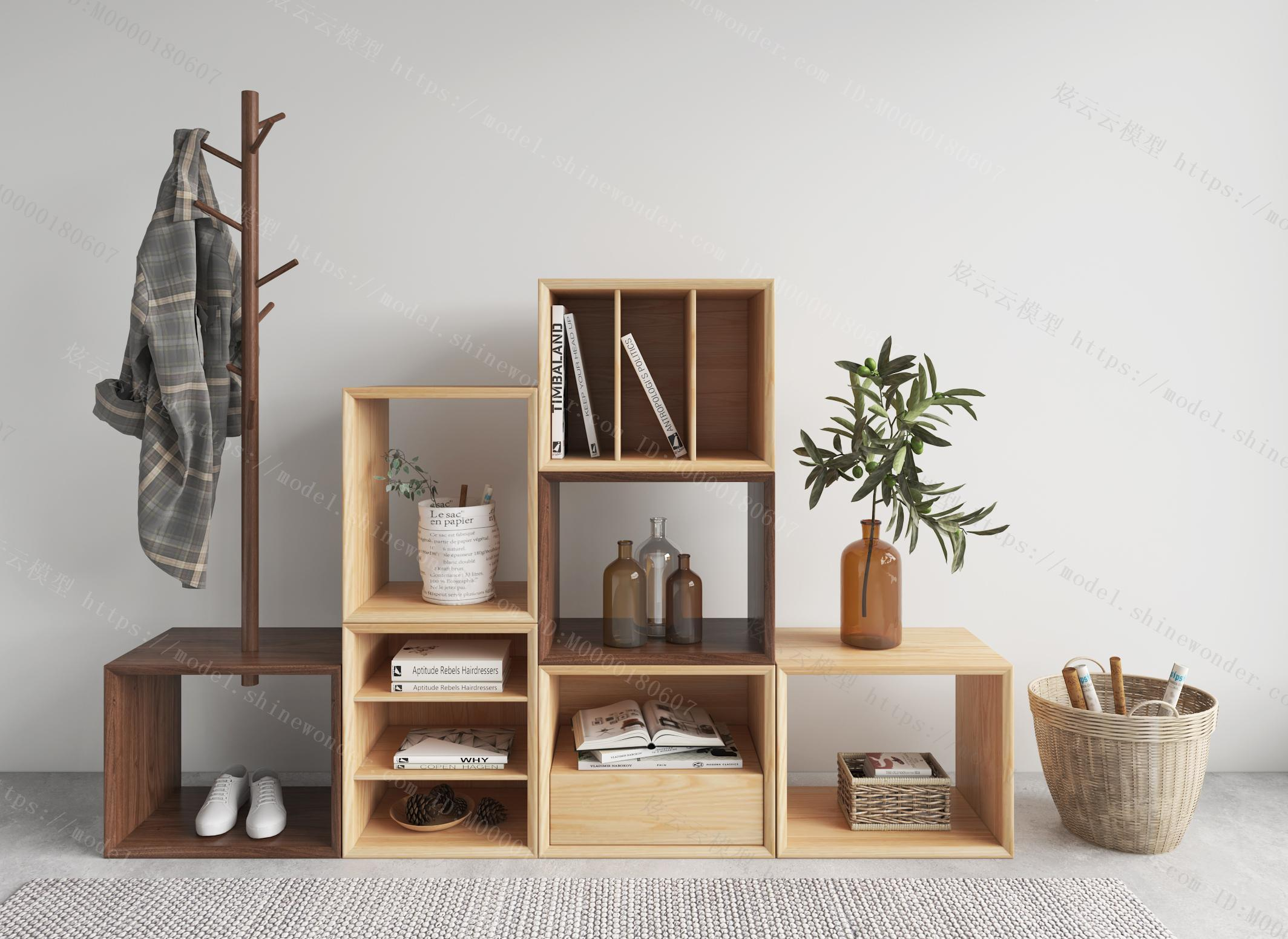 北欧实木组合书架模型