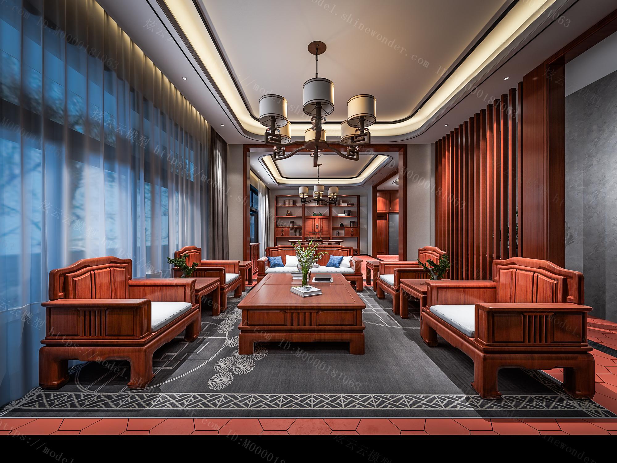 中式客餐厅玄关模型