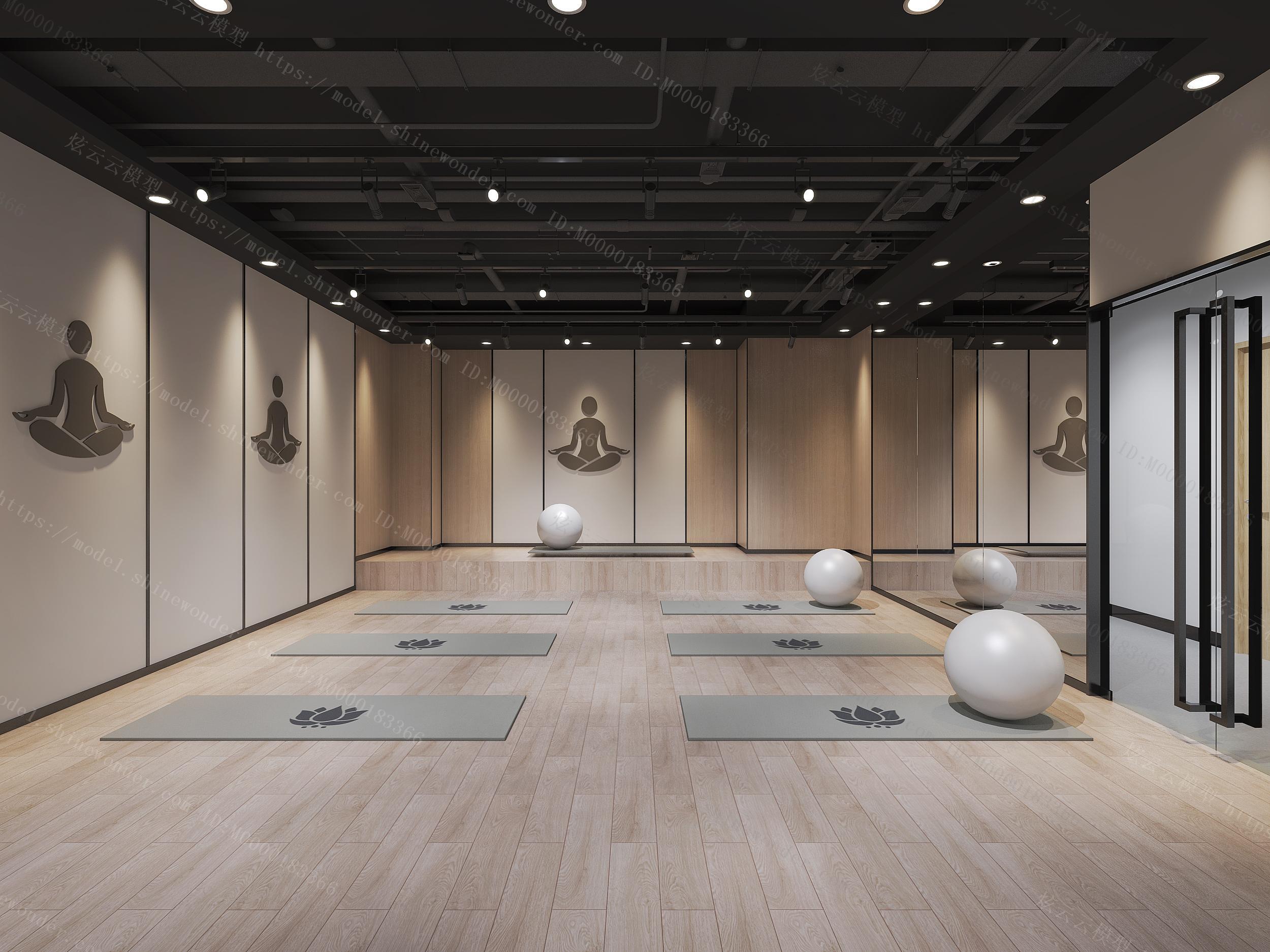 现代瑜伽室模型