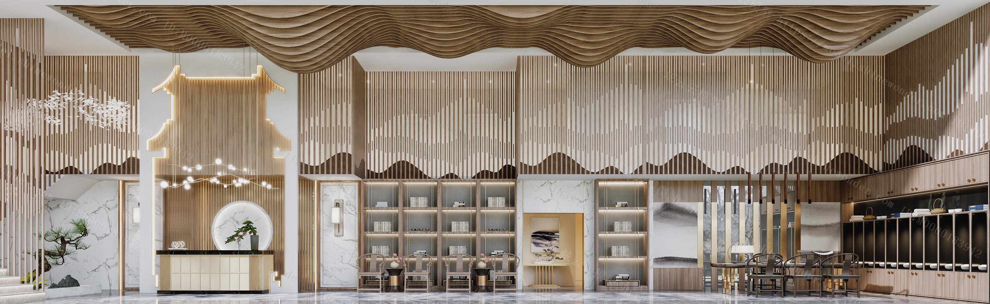新中式禅意酒店会所大厅前台茶室模型