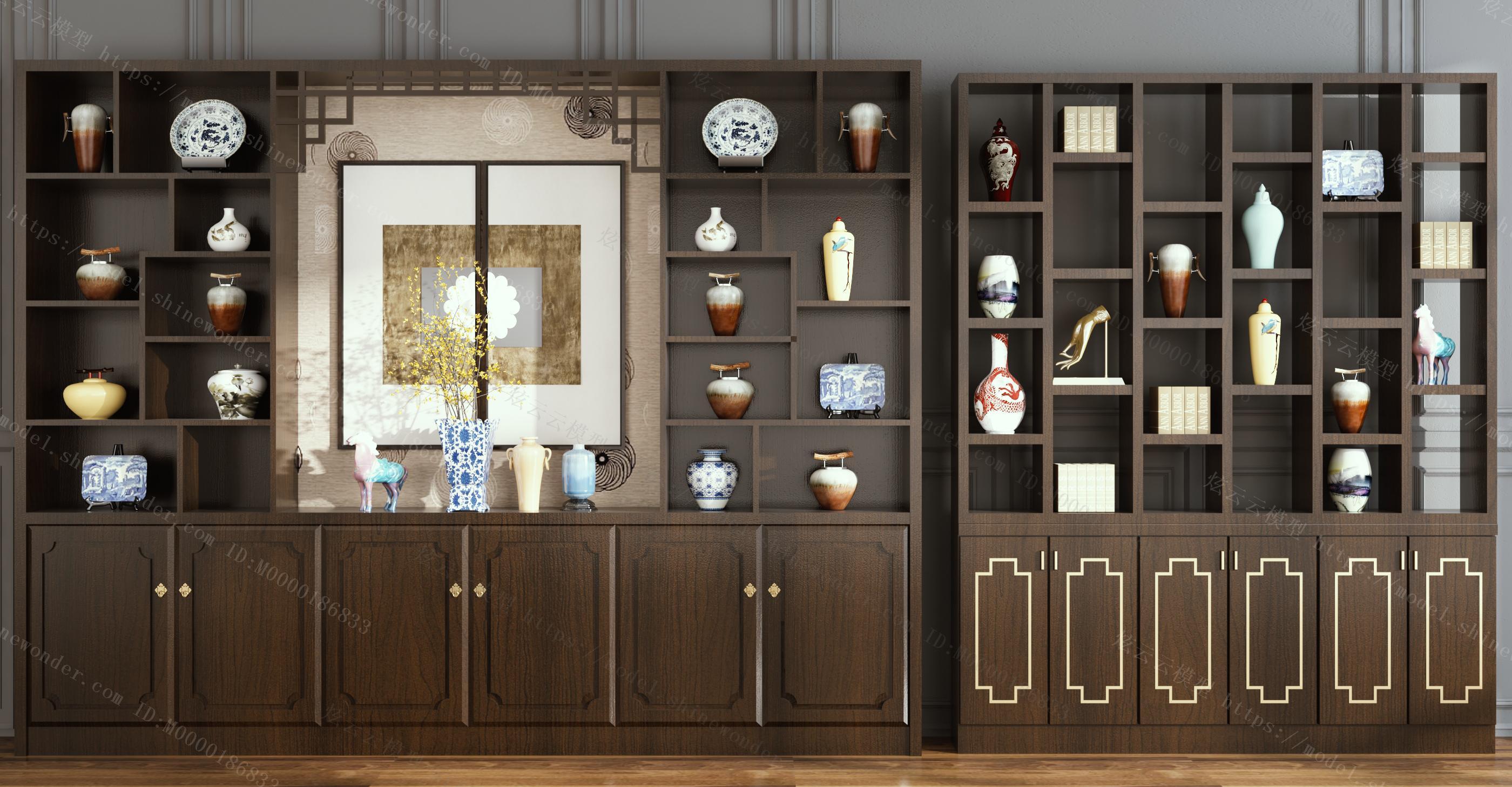 新中式酒柜装饰柜摆件组合模型