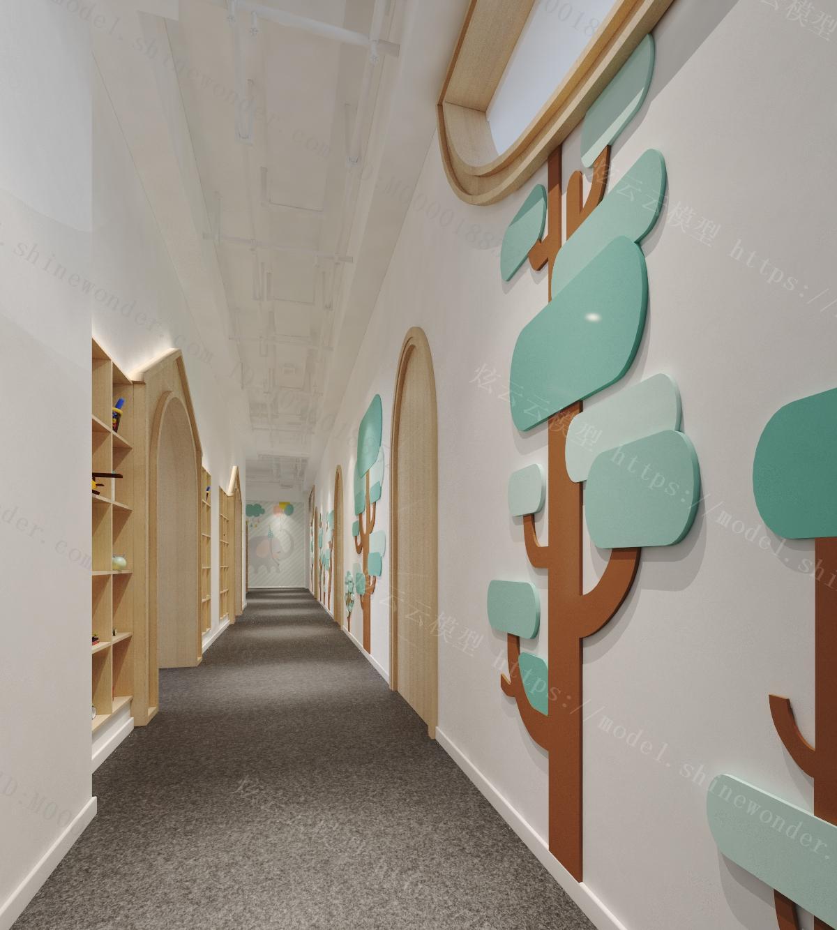 现代幼儿园过道模型