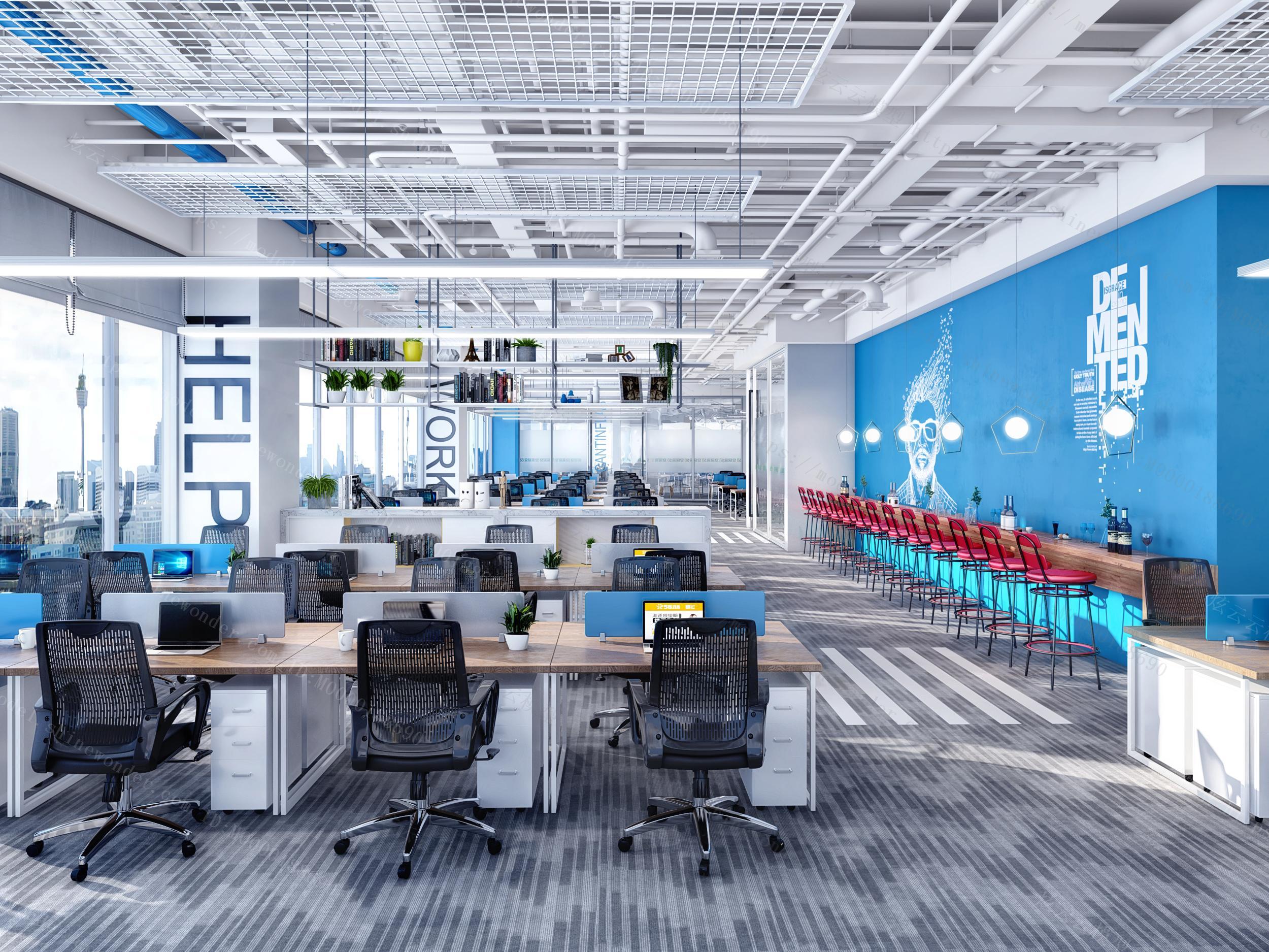 现代工业风敞开式办公区模型