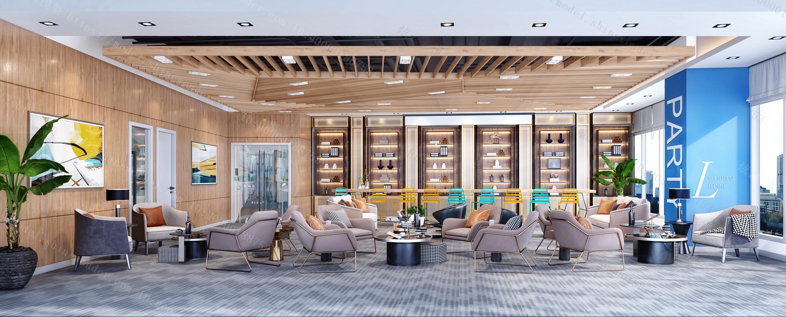 现代工业风贵宾休息区接待室酒柜吧台模型