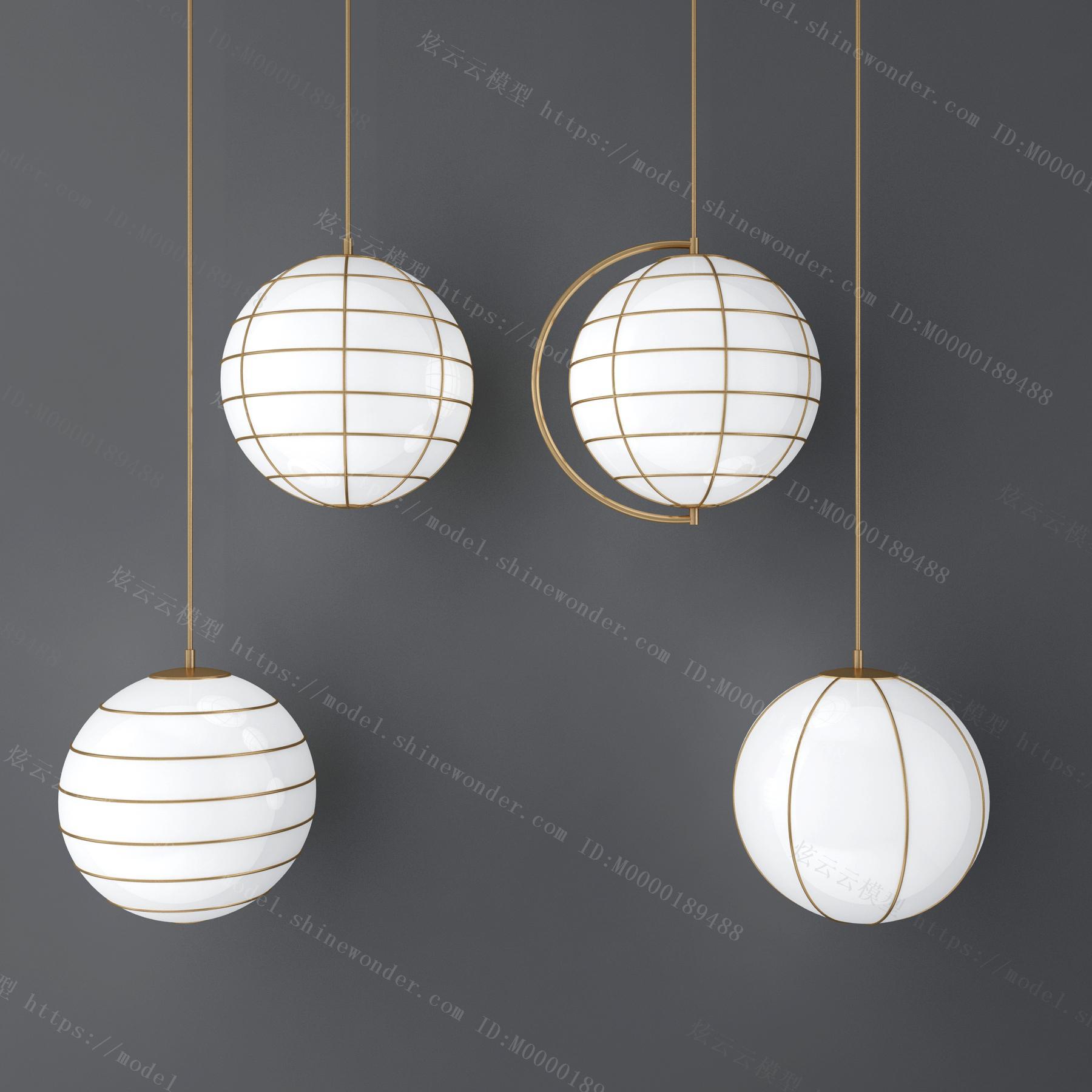 现代金属壁灯吊灯组合模型