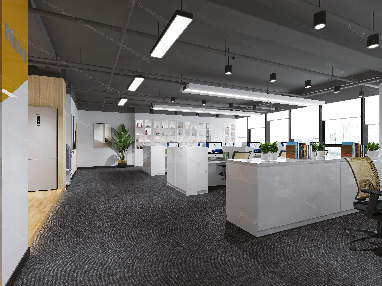 现代办公大厅会议室模型
