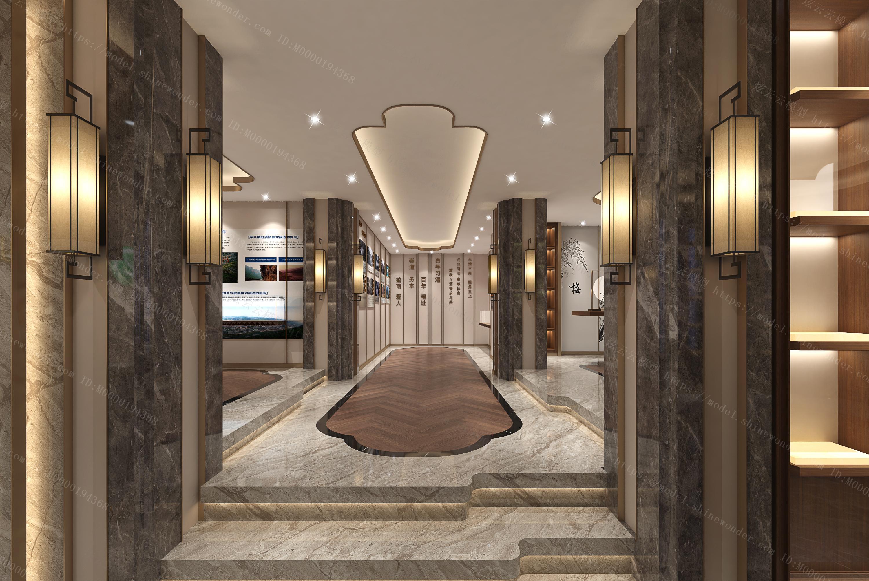 新中式酒文化展厅模型