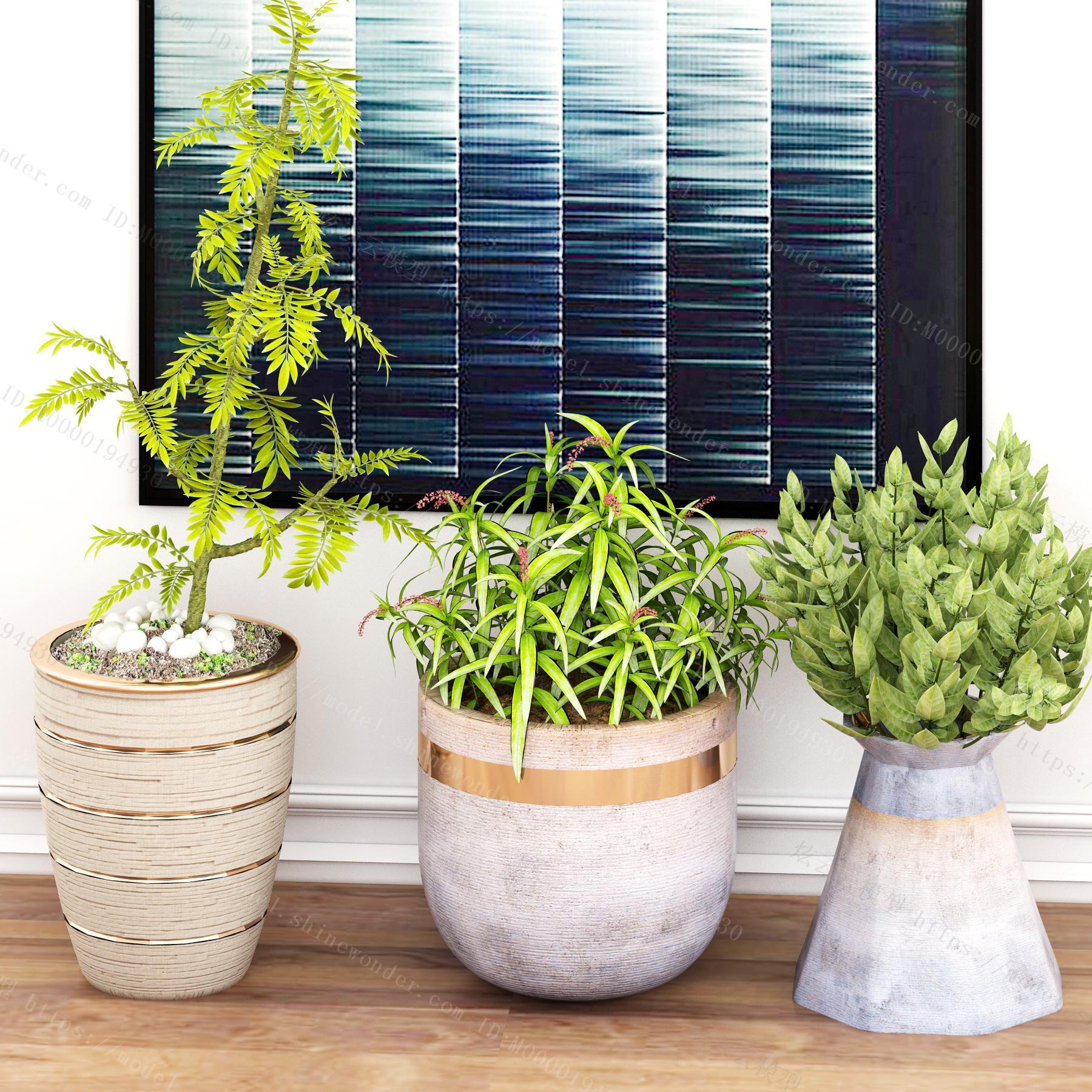 北欧绿植盆栽模型