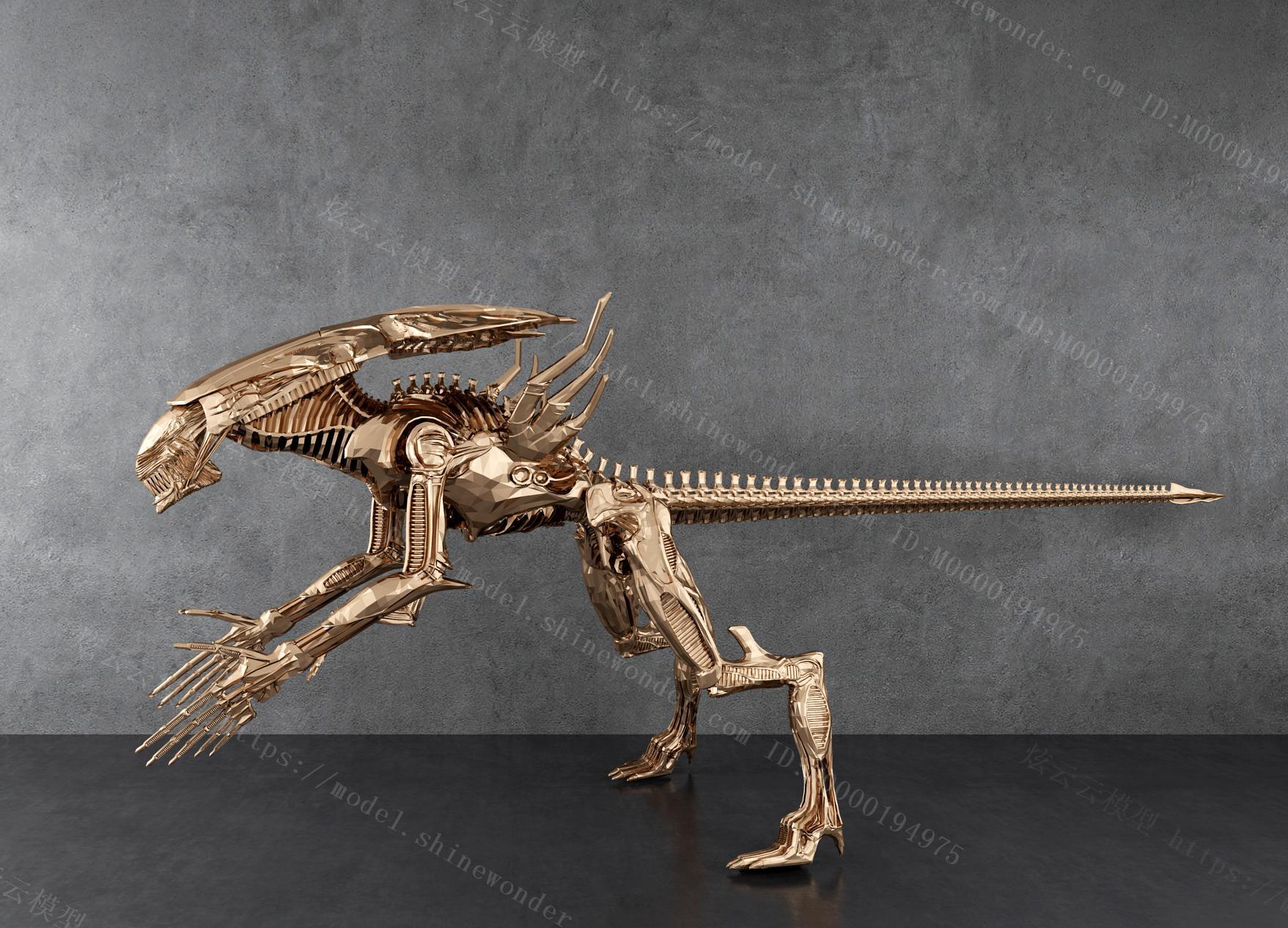 现代金属机械龙模型