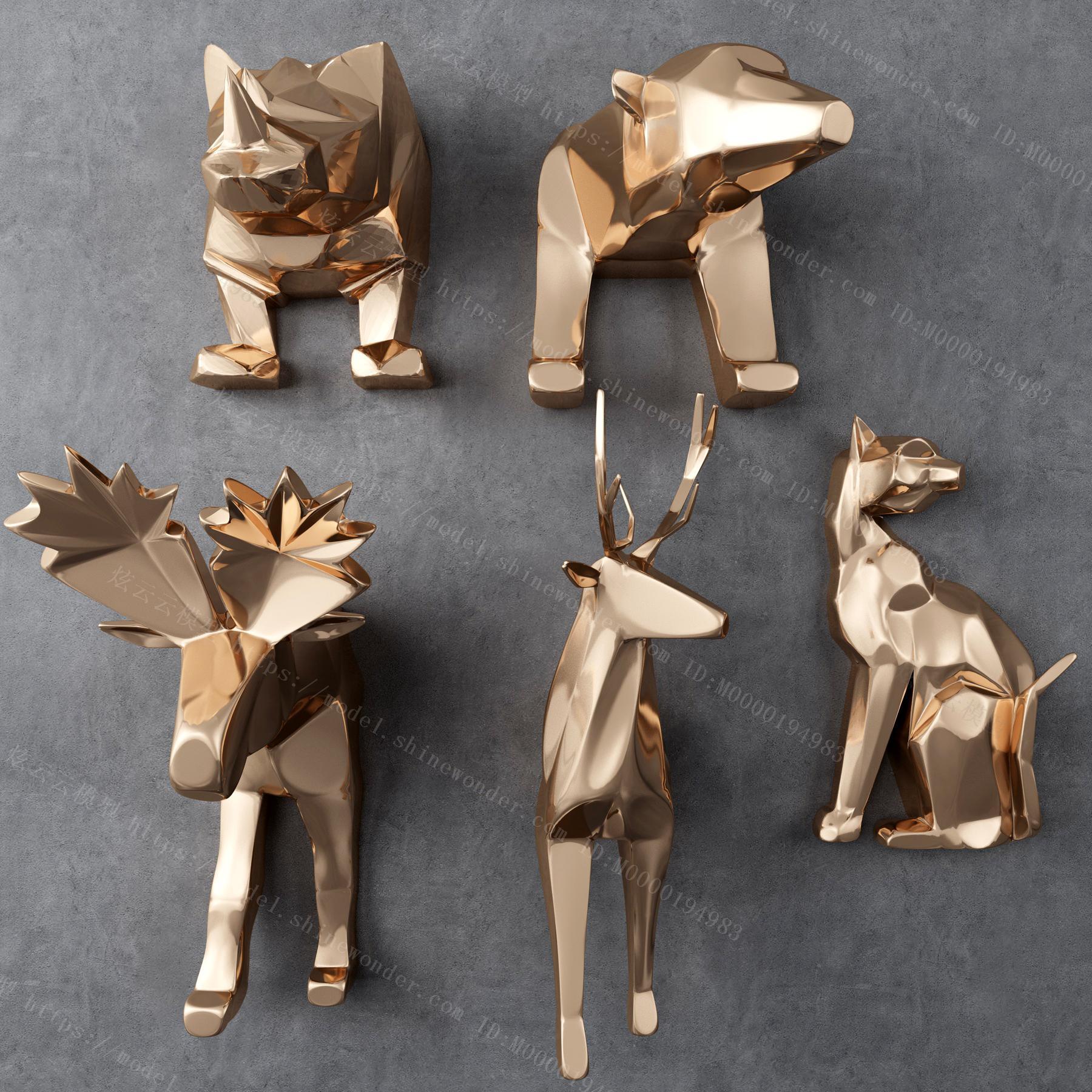 现代金属几何动物墙饰模型