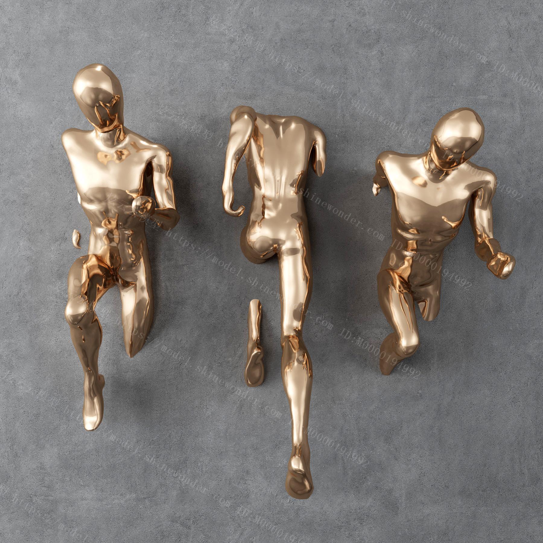 人物雕塑墙饰模型