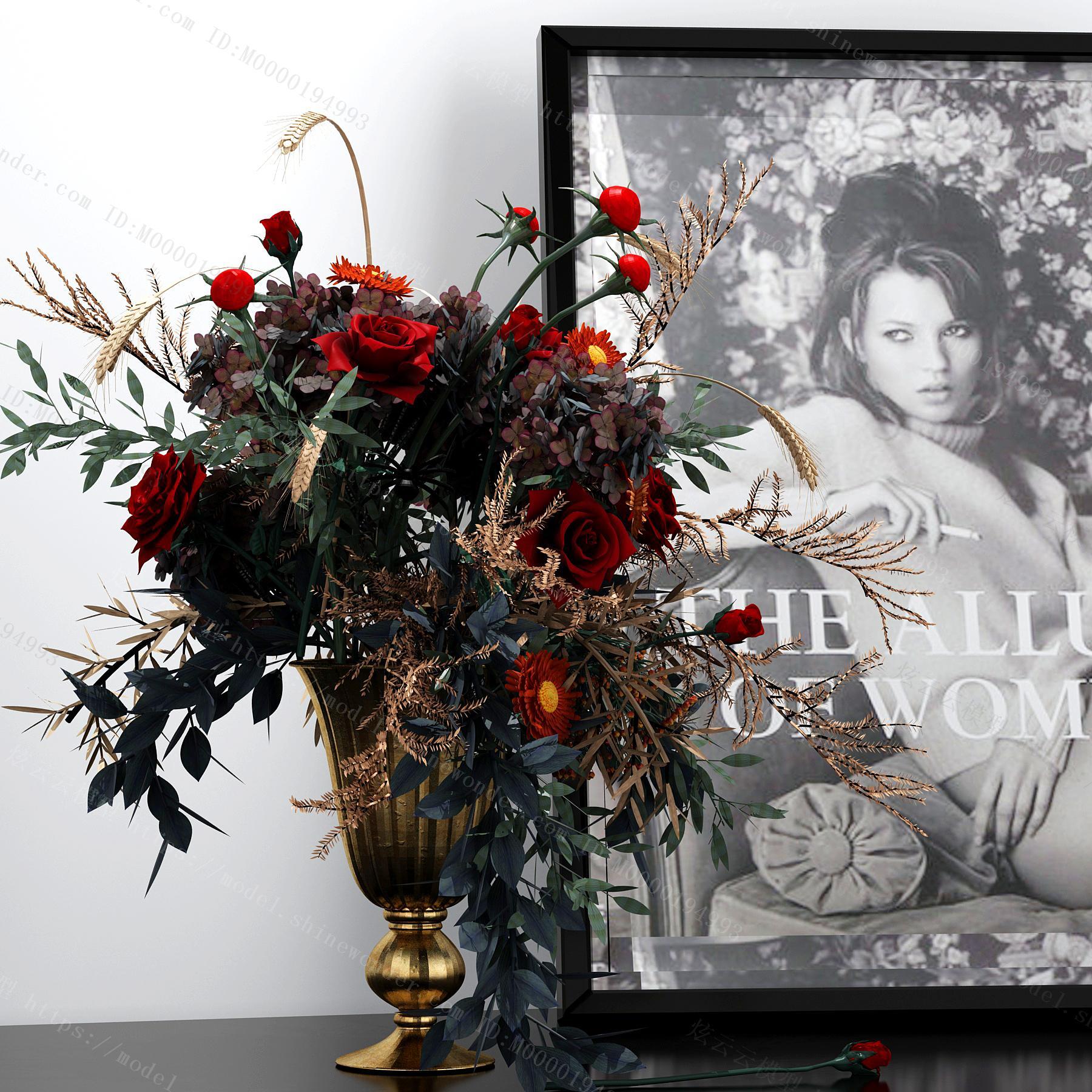 现代花瓶花卉模型