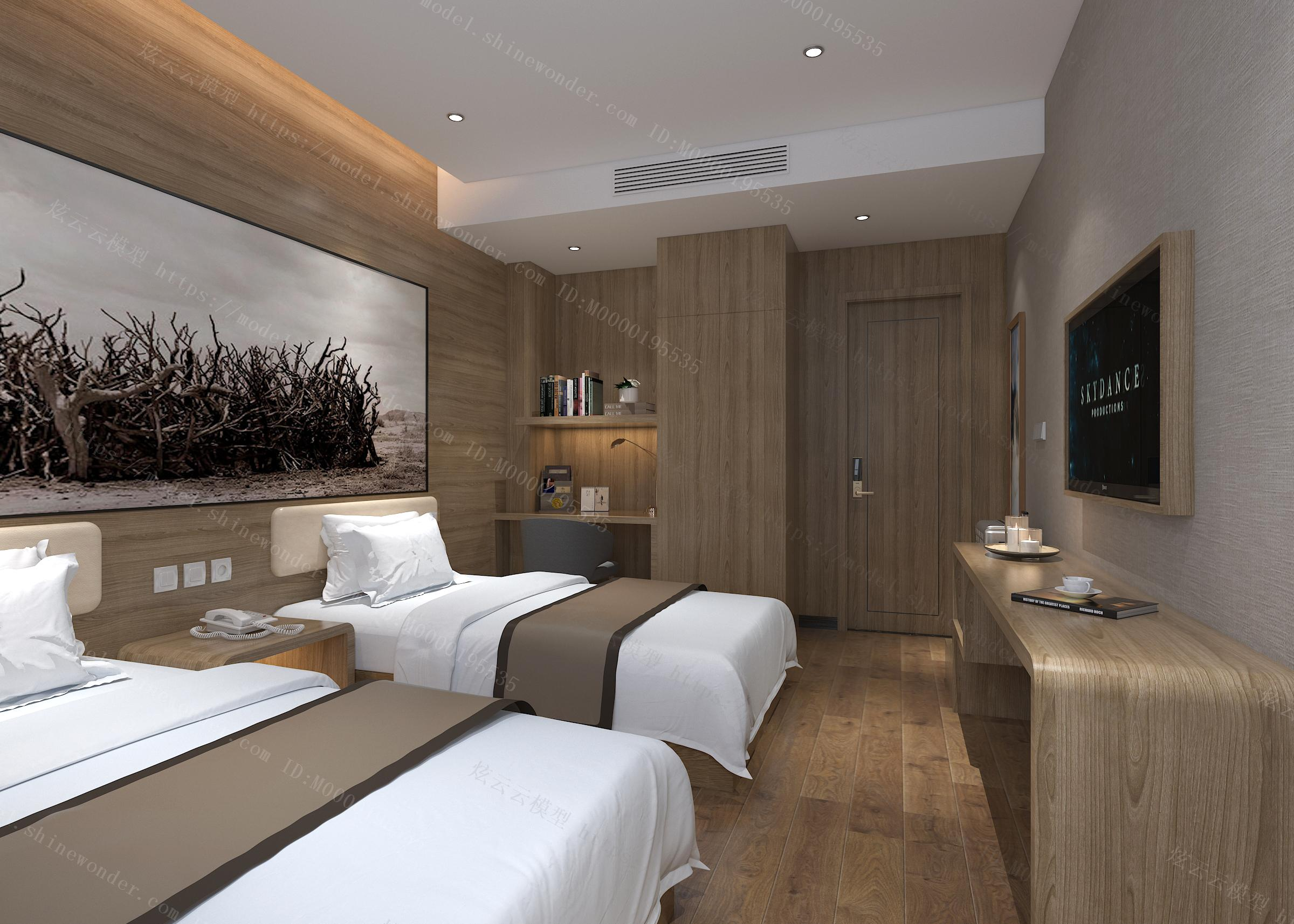 现代酒店标间模型