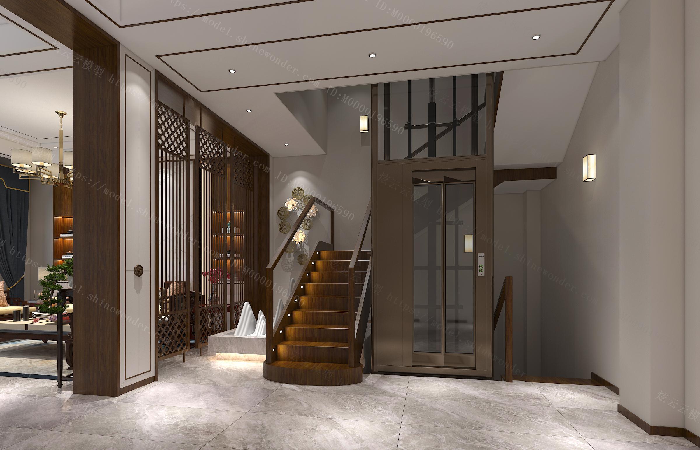 中式客厅楼梯电梯模型