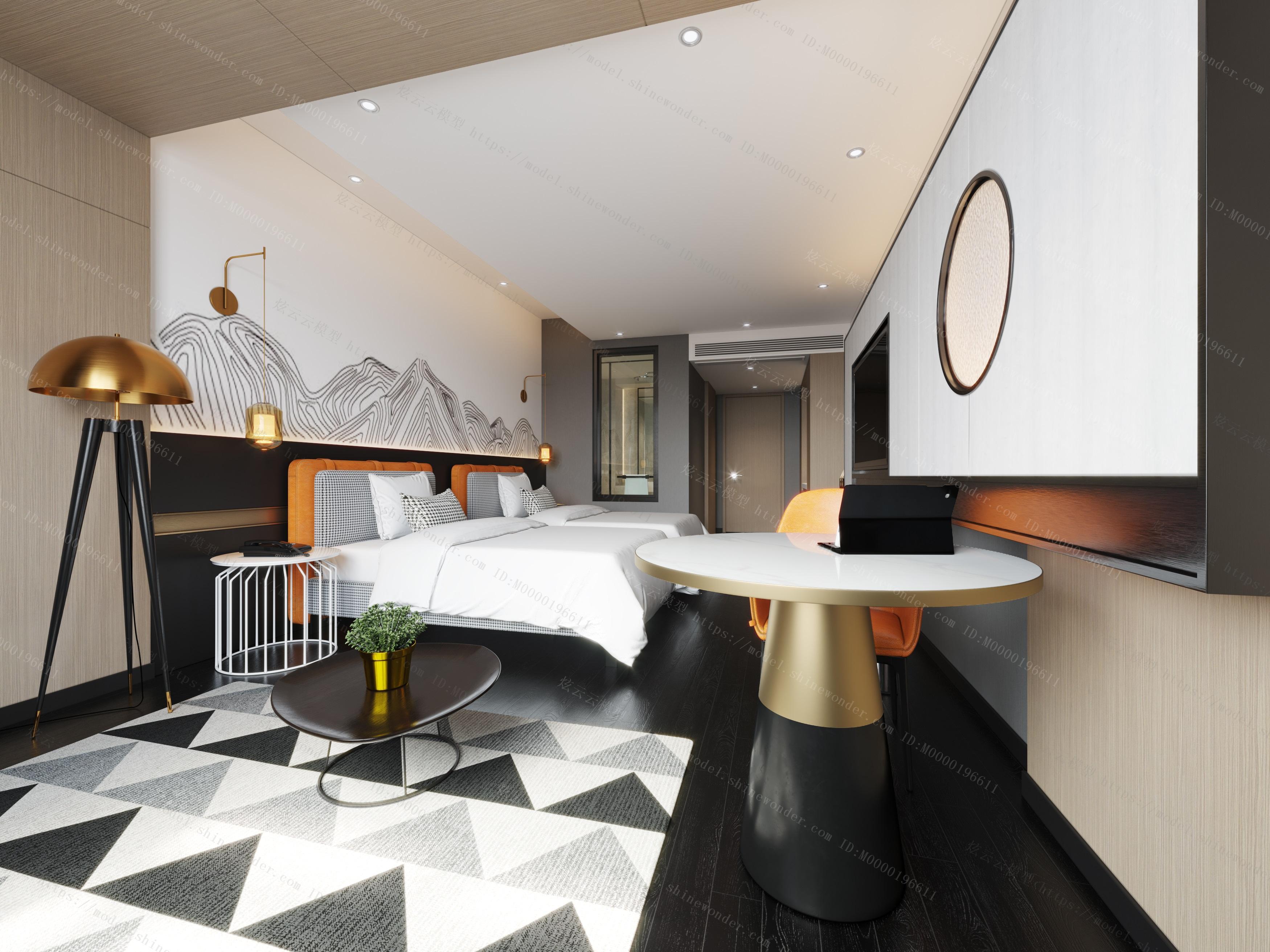 现代酒店客房双人间模型