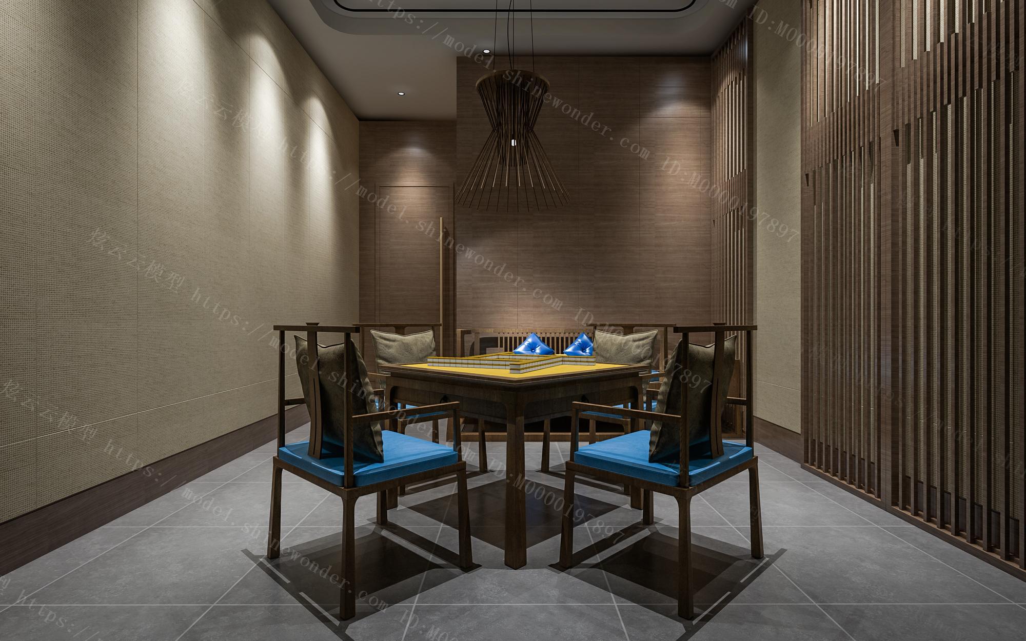 中式酒店麻将房模型