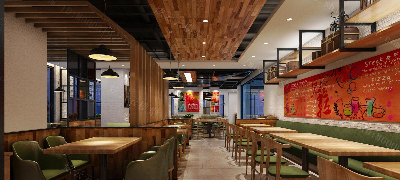 现代牛排餐饮店模型