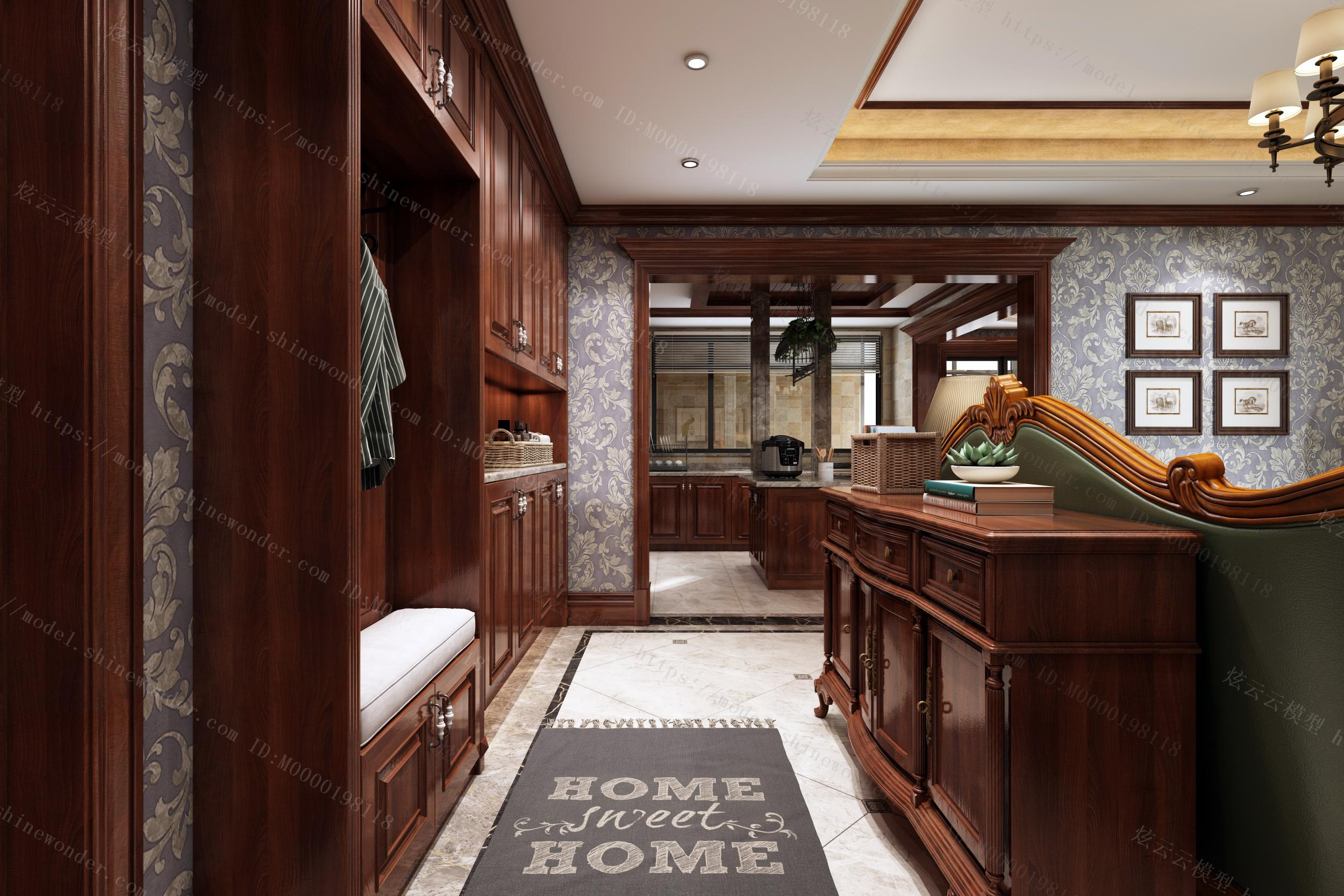 美式客餐厅厨房模型