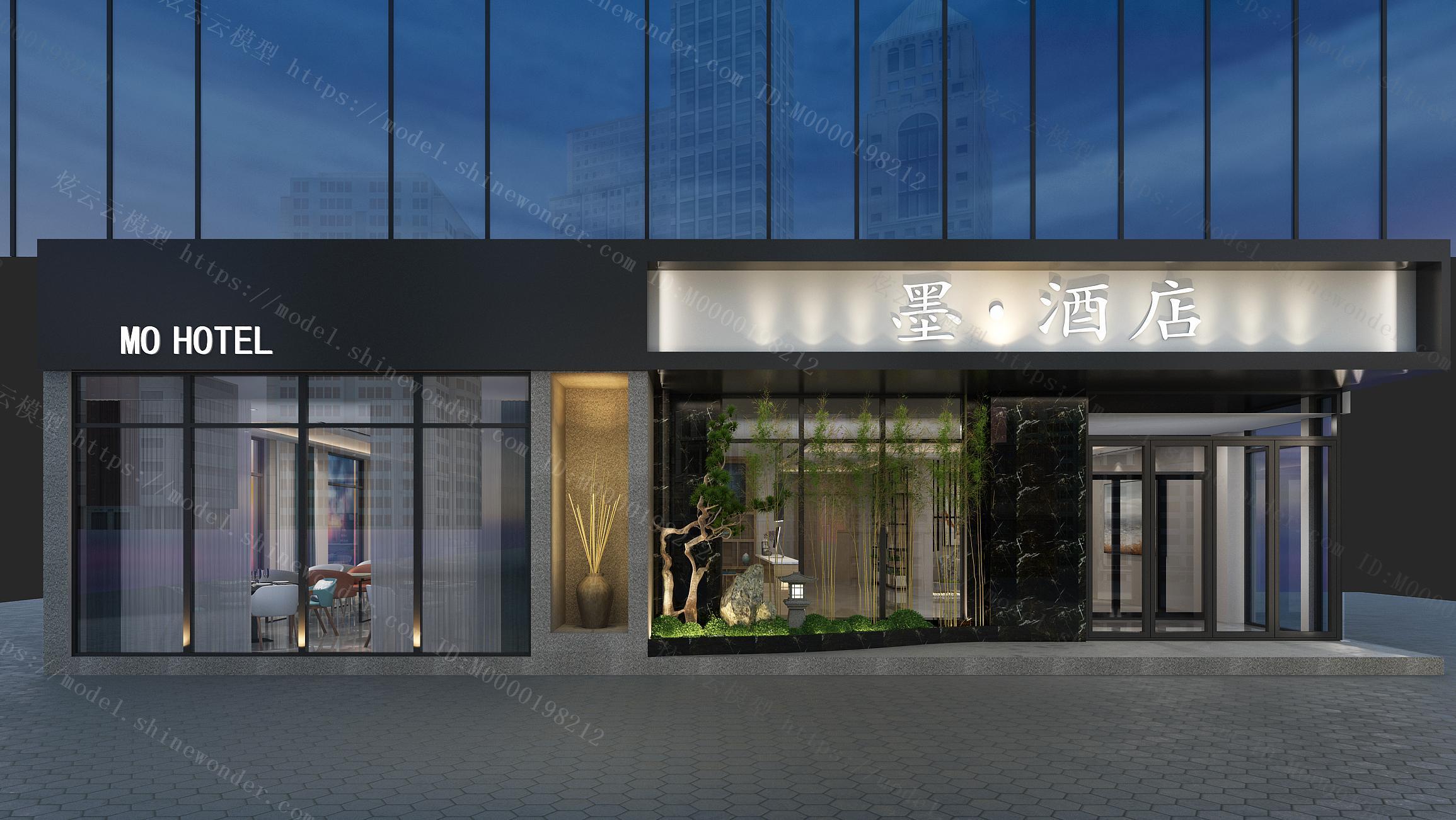 中式酒店门头模型