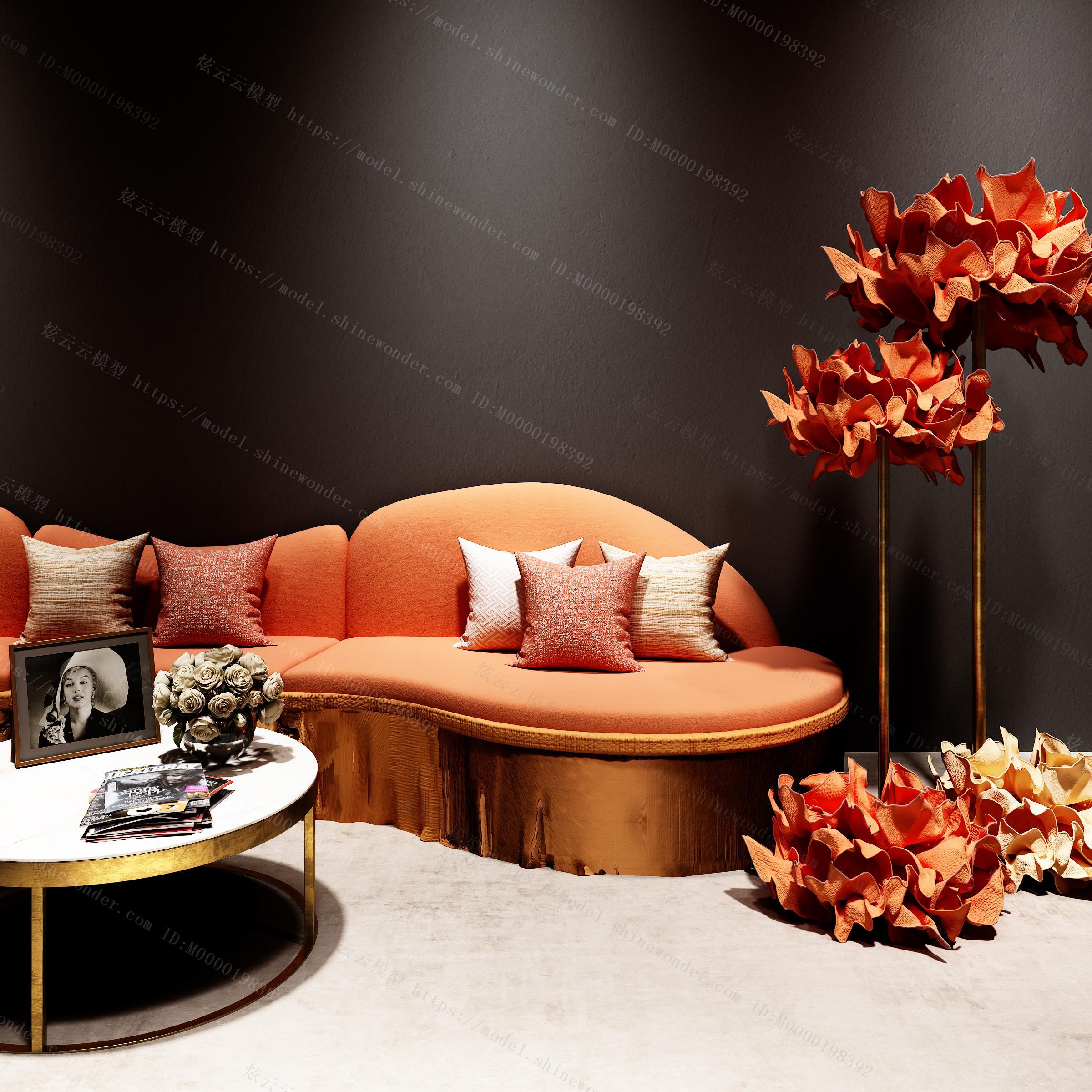 现代异形多人沙发模型