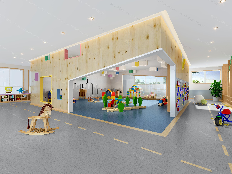 现代幼儿园活动室模型