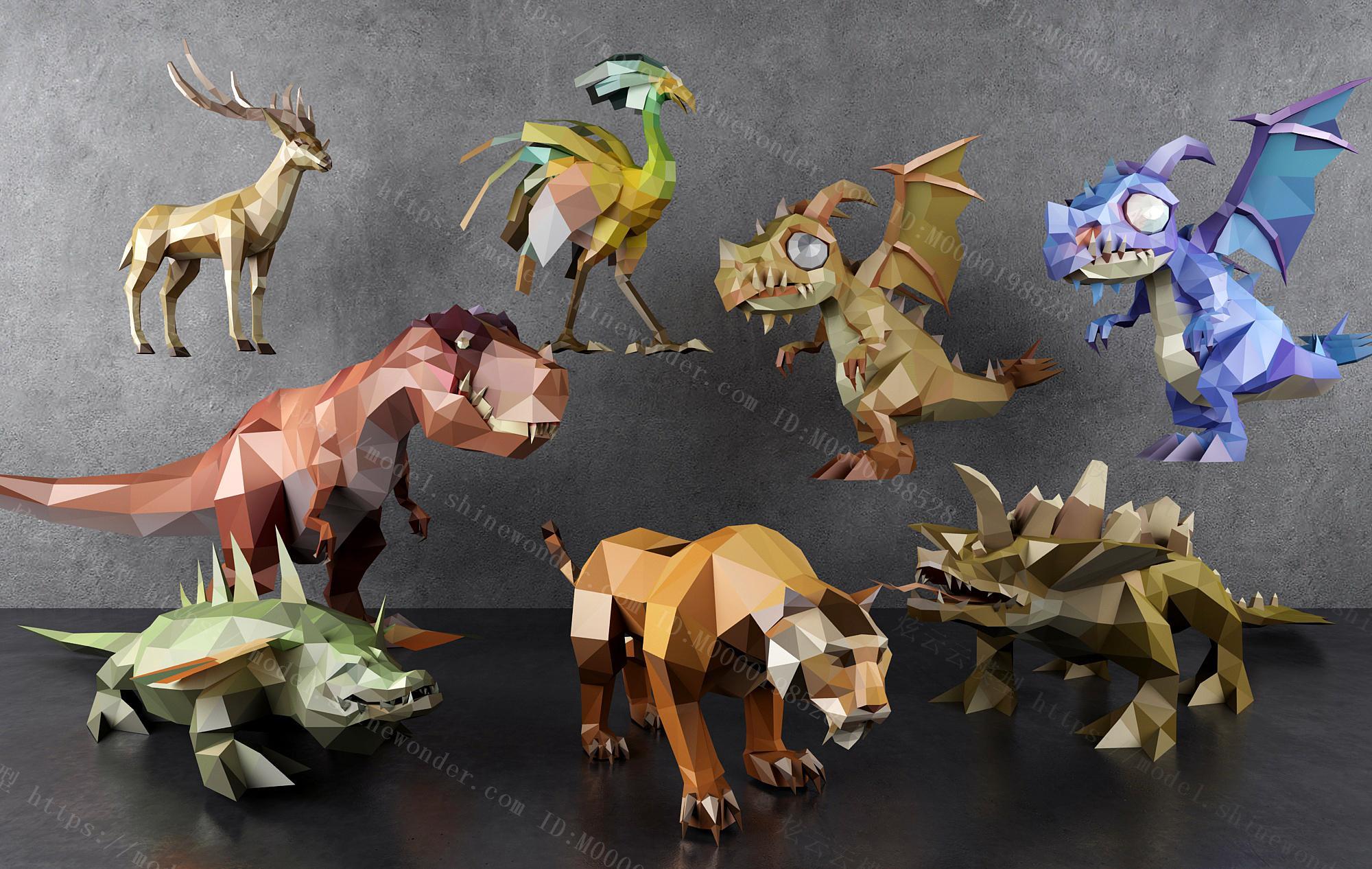 现代几何动物雕塑摆件模型