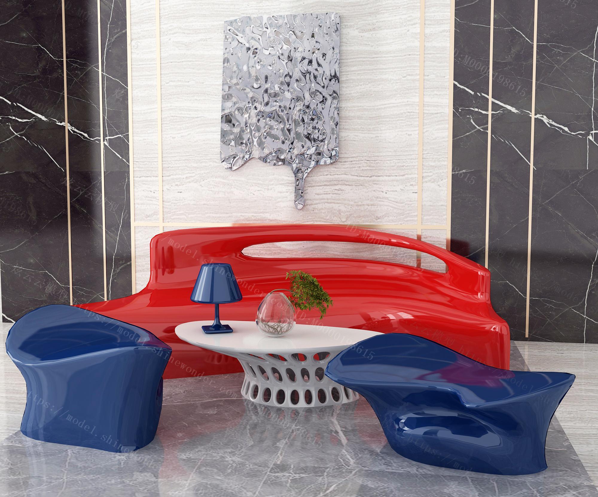 现代异形沙发茶几组合模型
