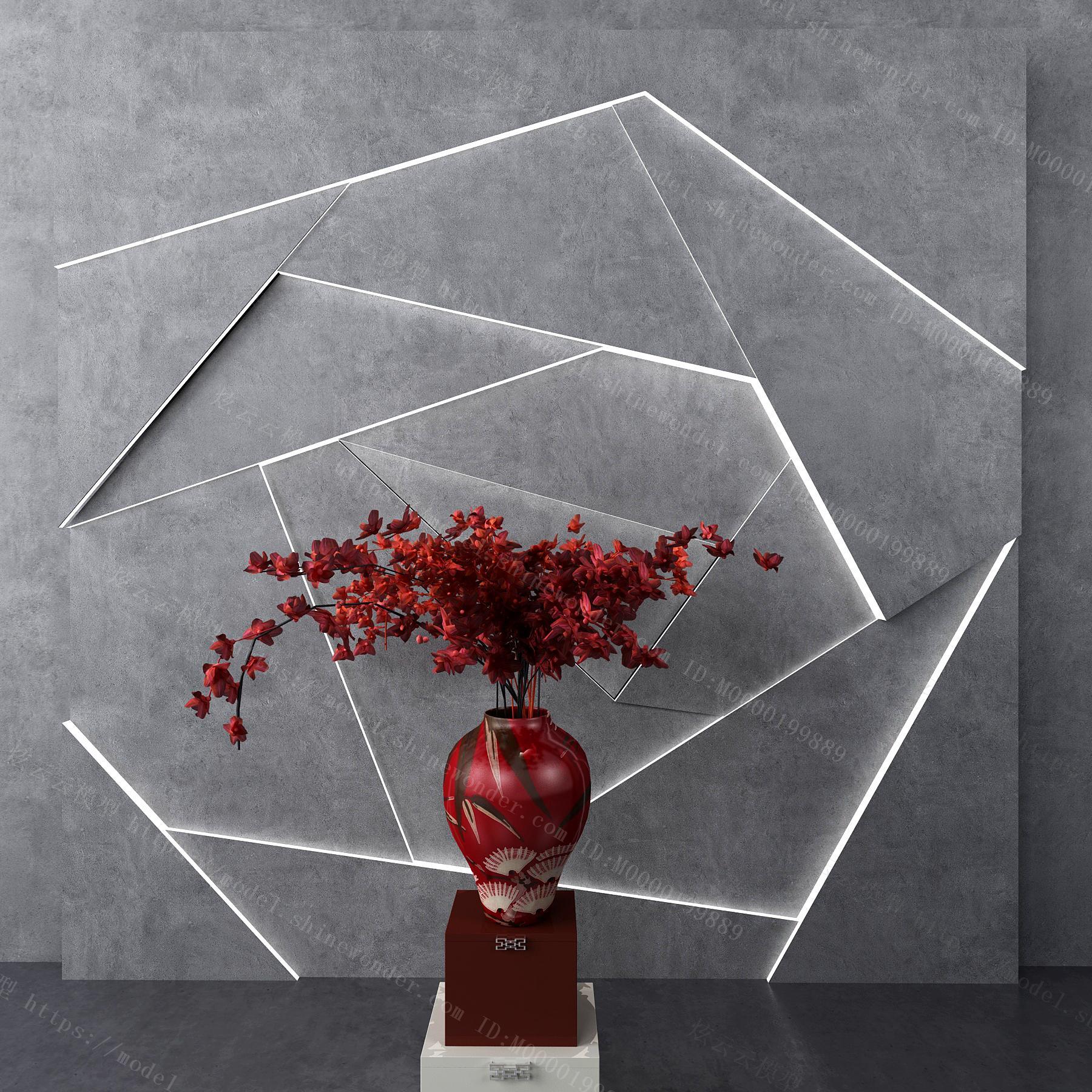 新中式花瓶花卉模型