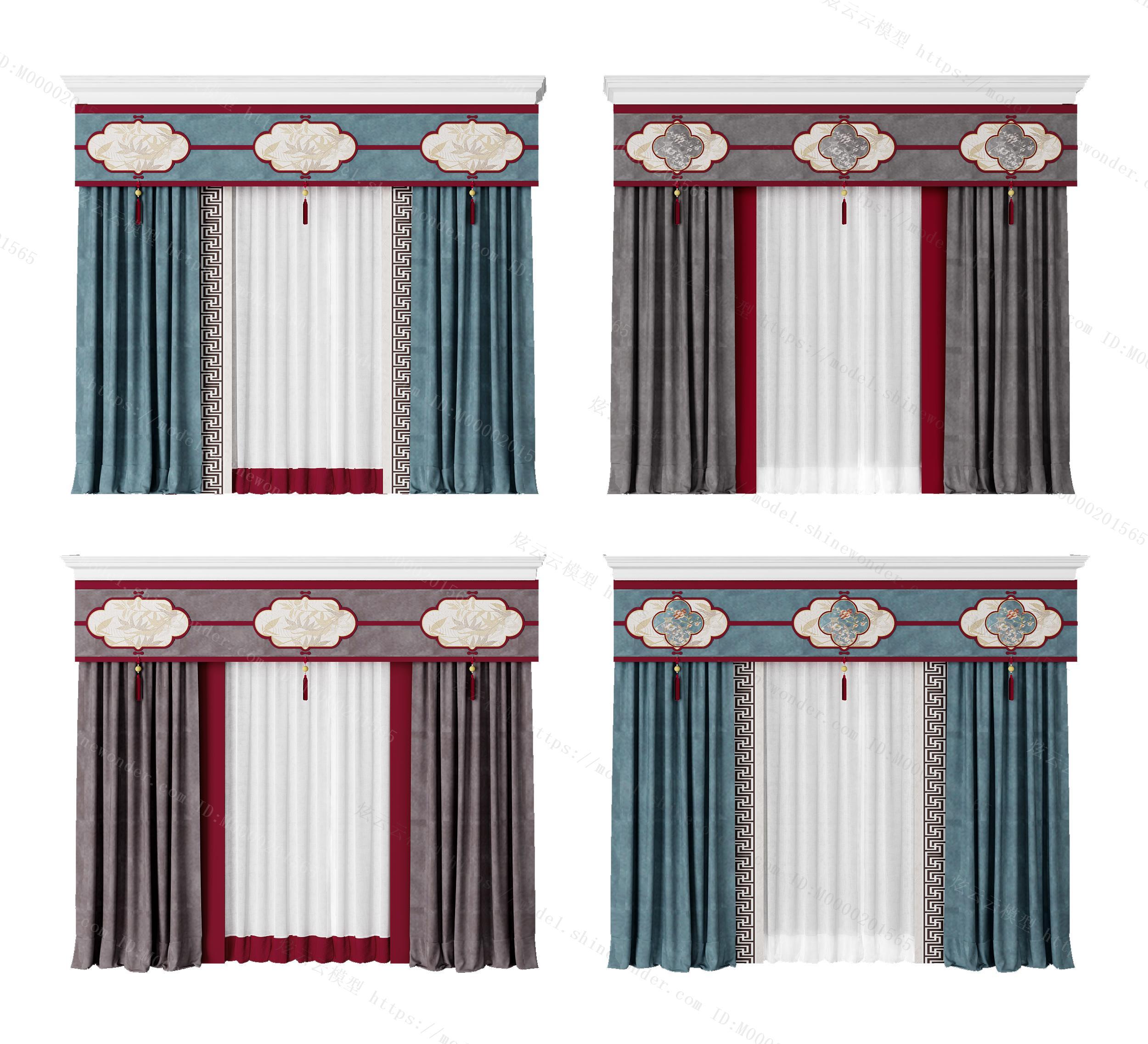 新中式窗帘组合模型