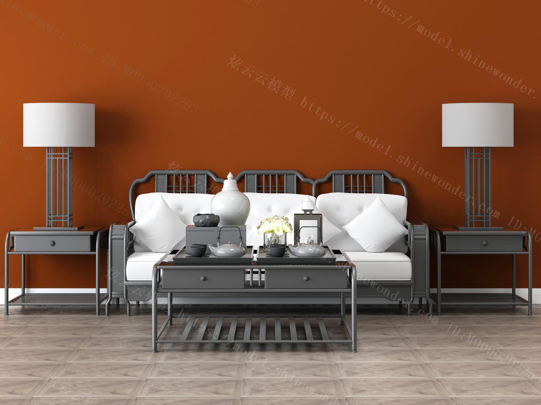中式沙发茶几组合模型