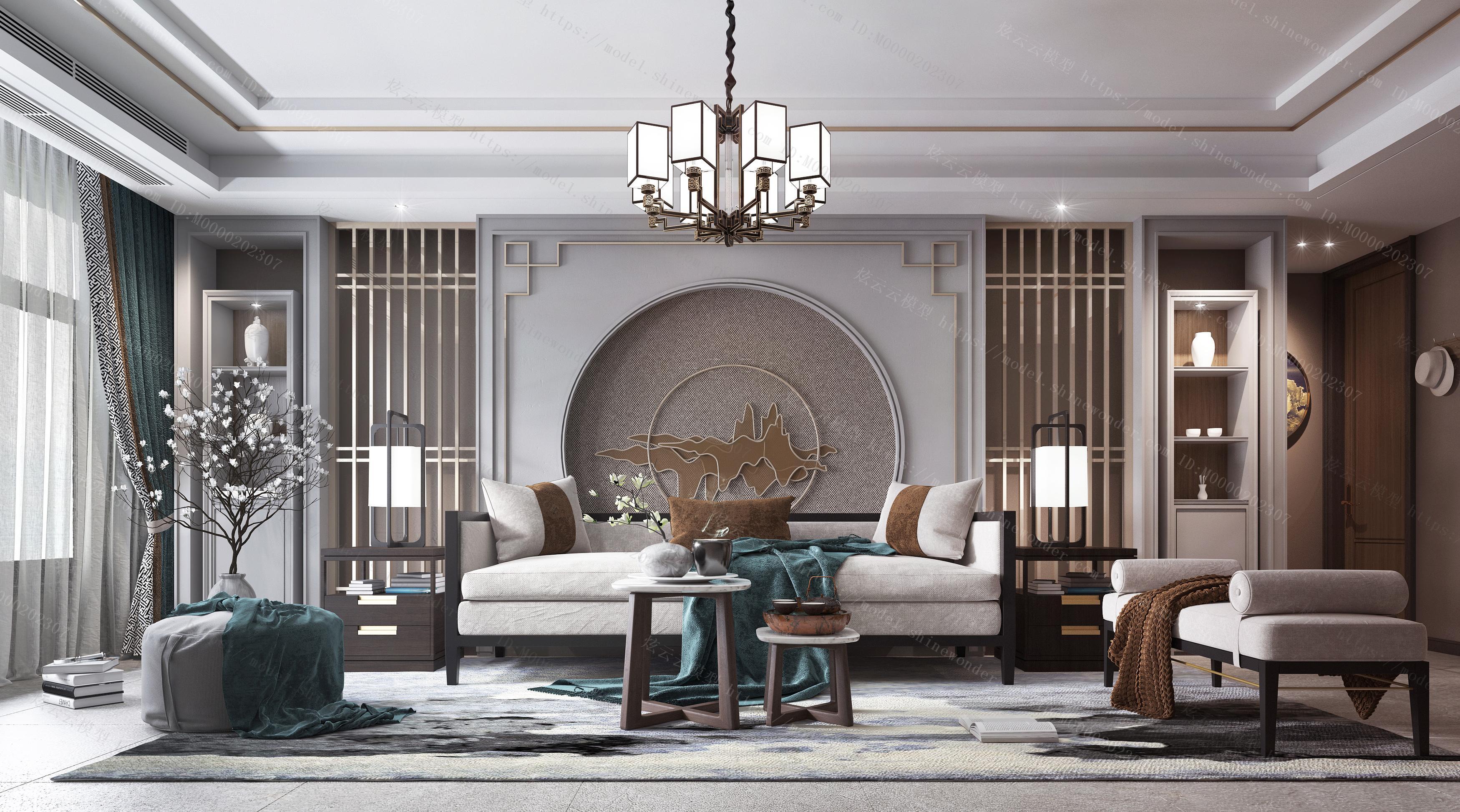 新中式客厅沙发茶几模型