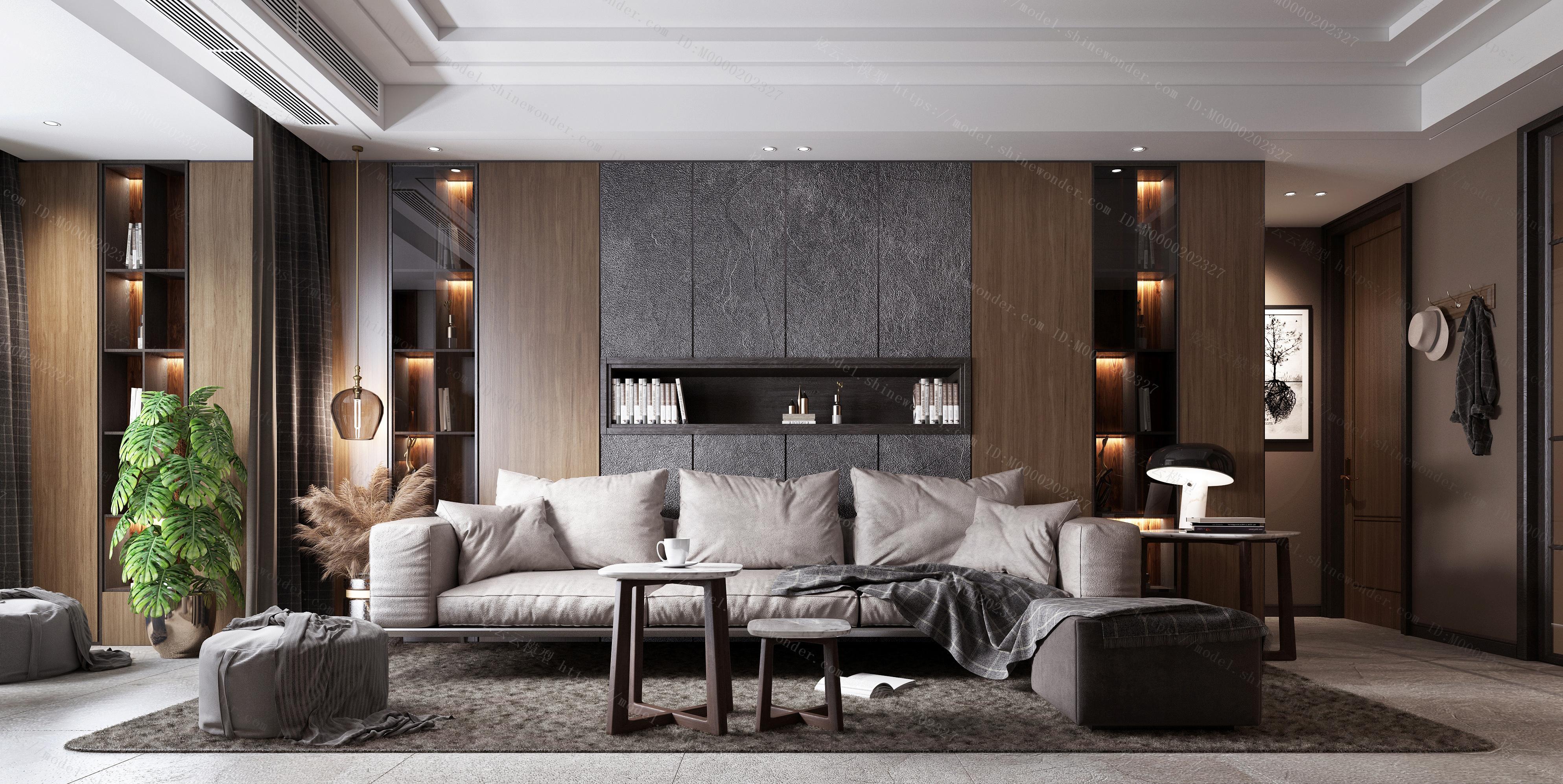 现代客厅 现代沙发茶几 黑白客厅 现代轻模型