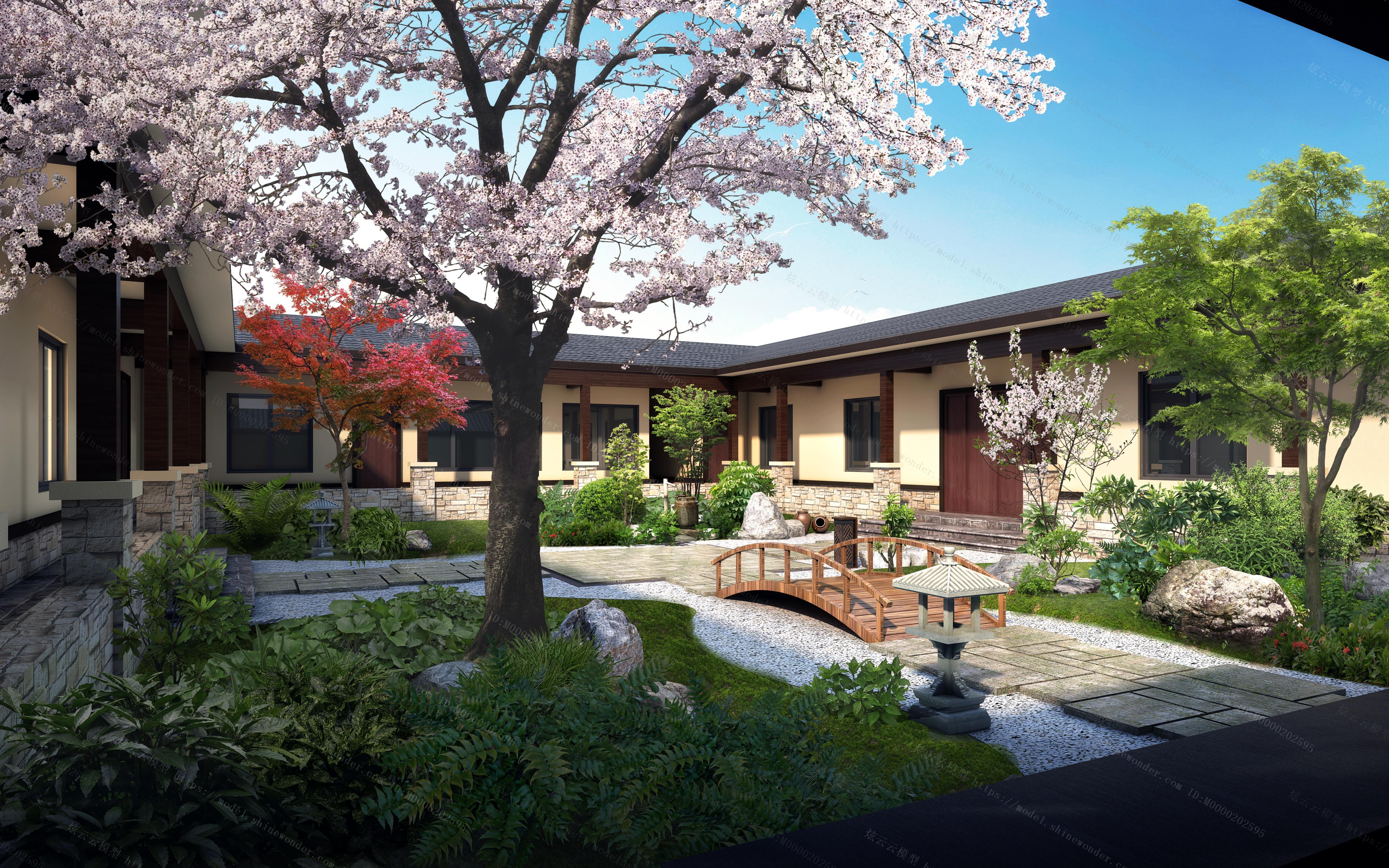 中式庭院景观模型
