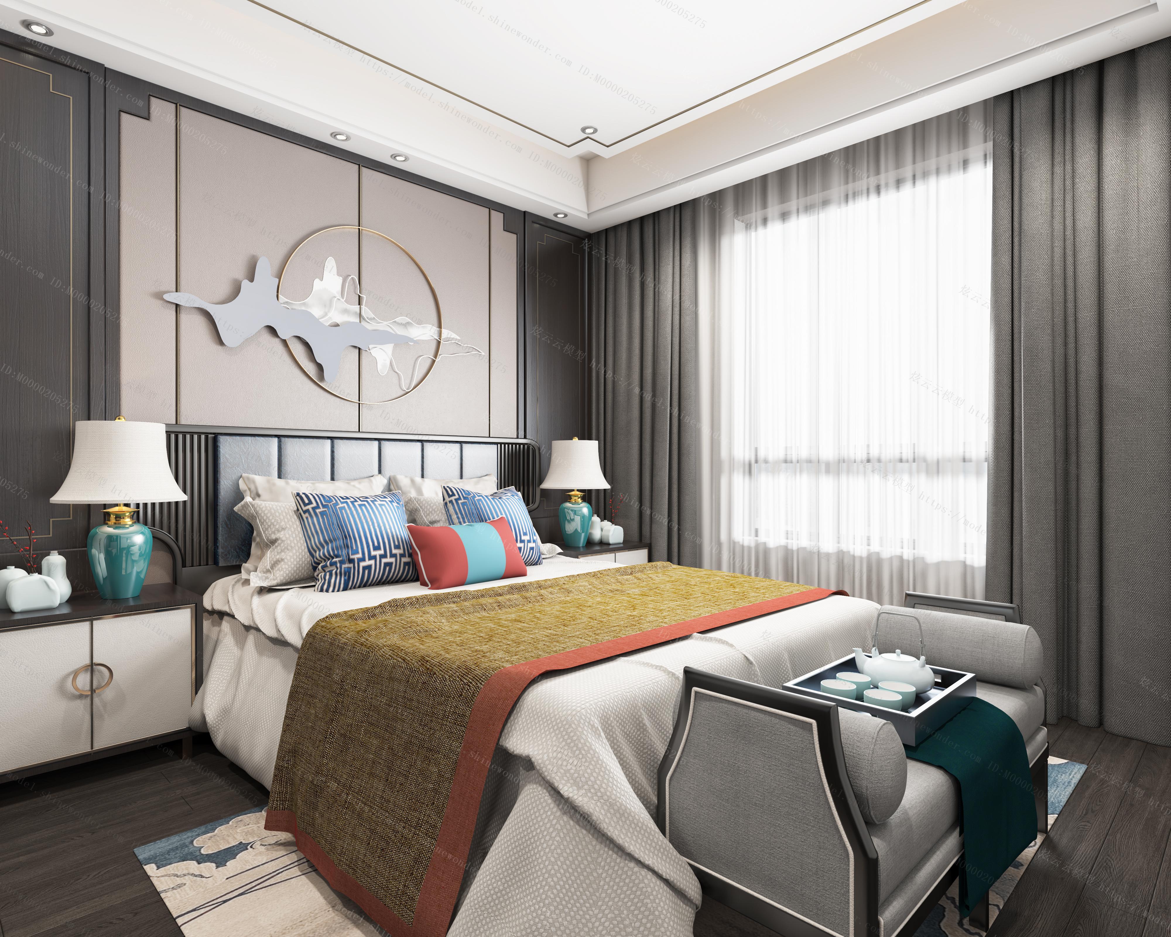 新中式卧室全景模型