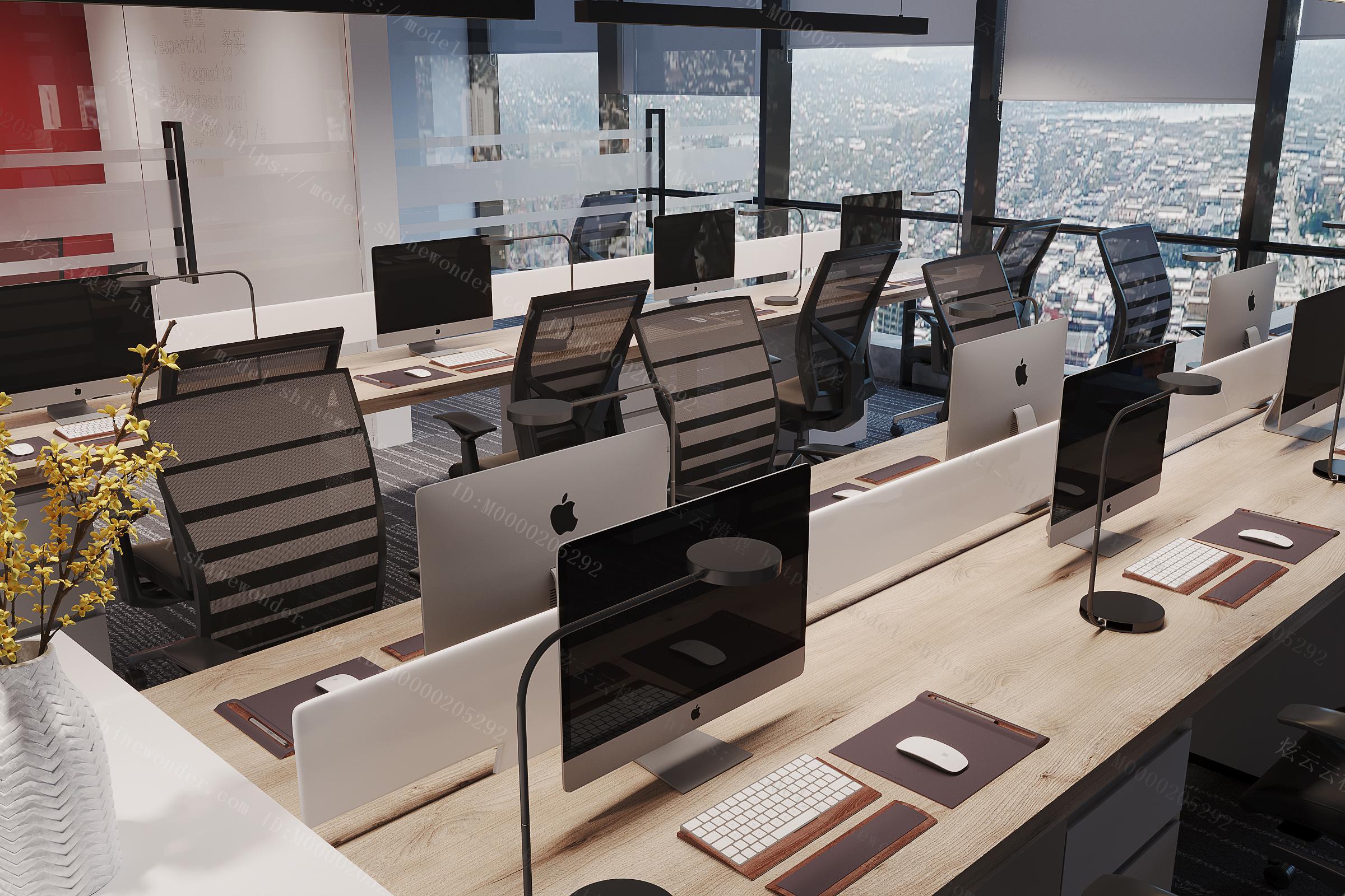 现代办公室大厅模型
